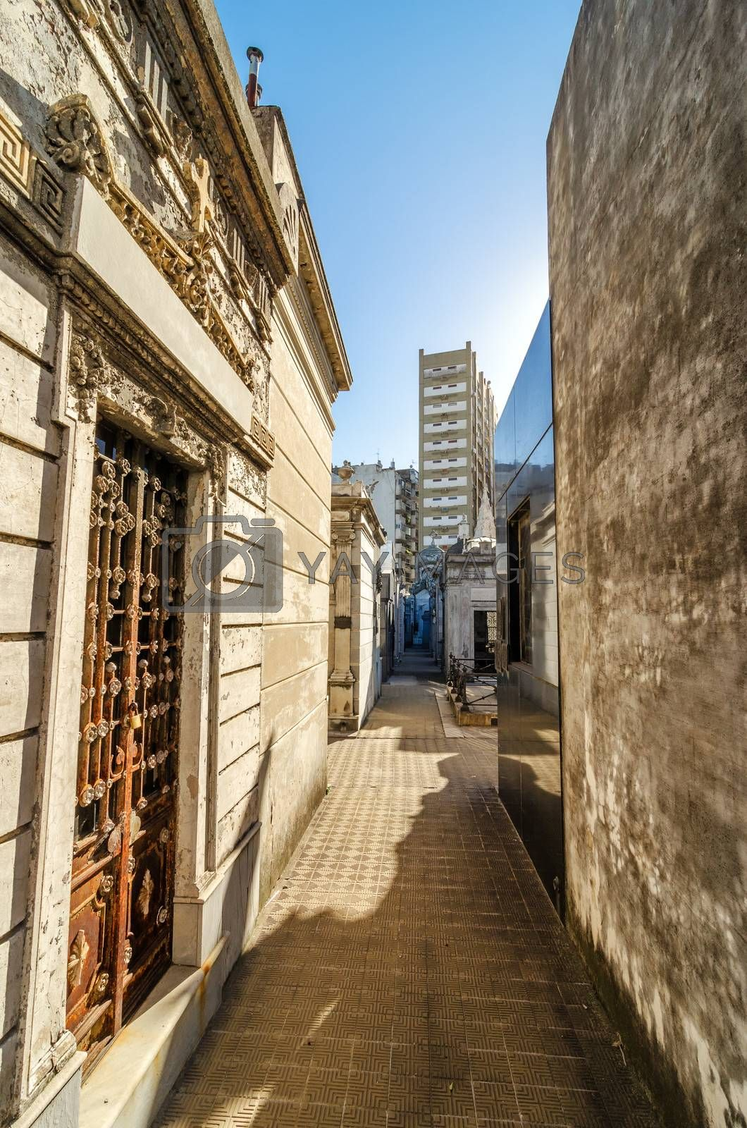 View of historic tombs in the famous Recoleta cemetery in Buenos Aires, Argentina