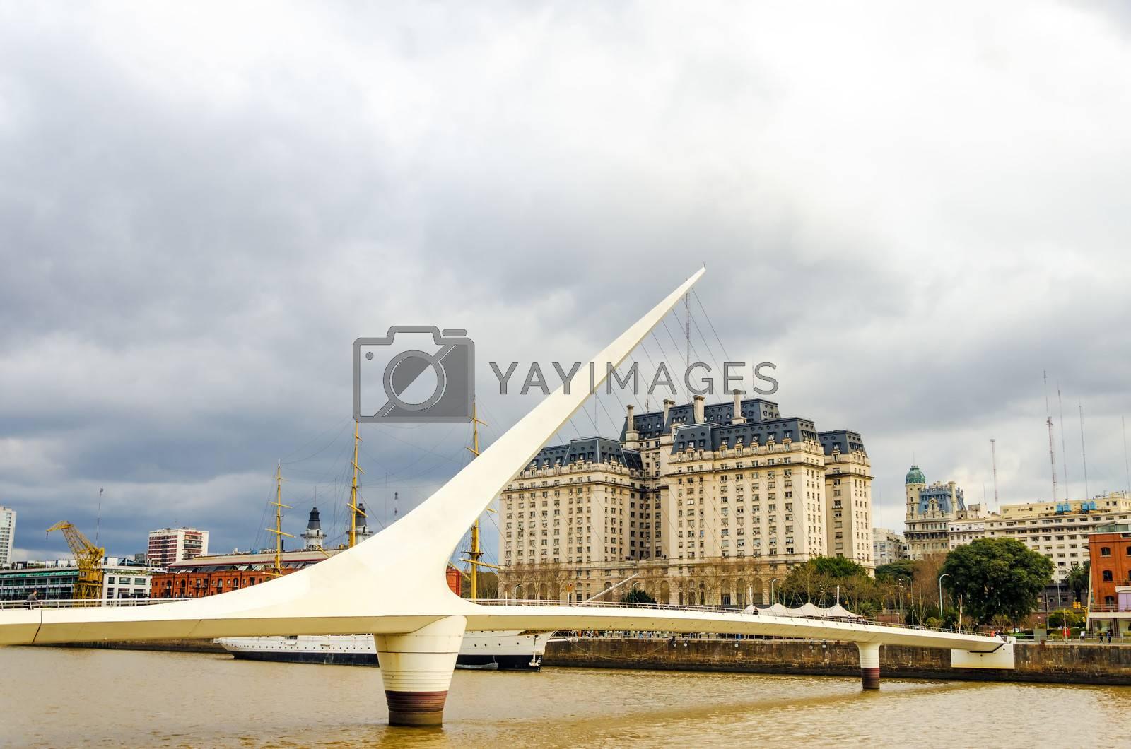 Women's bridge in Puerto Madero neighborhood of Buenos Aires, Argentina
