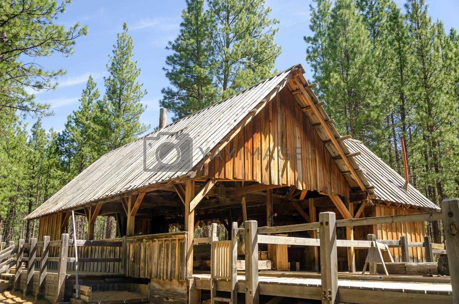 Old wooden lumber mill in Bend, Oregon