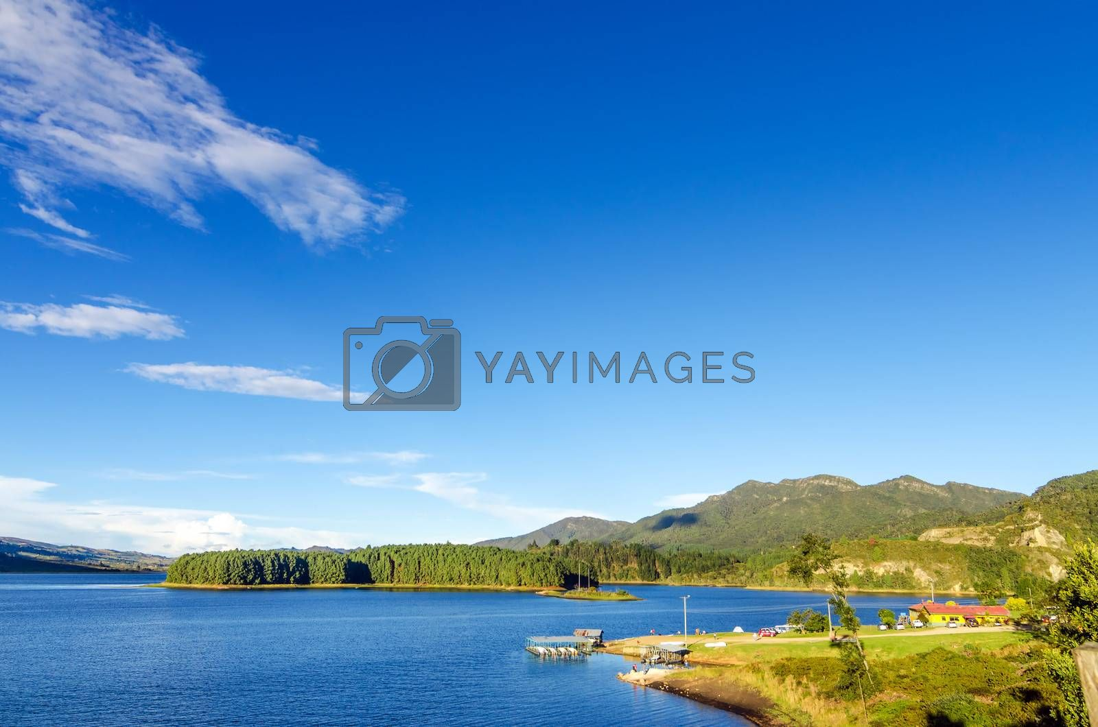 Blue water and sky of Neusa Lake in Cundinamarca, Colombia