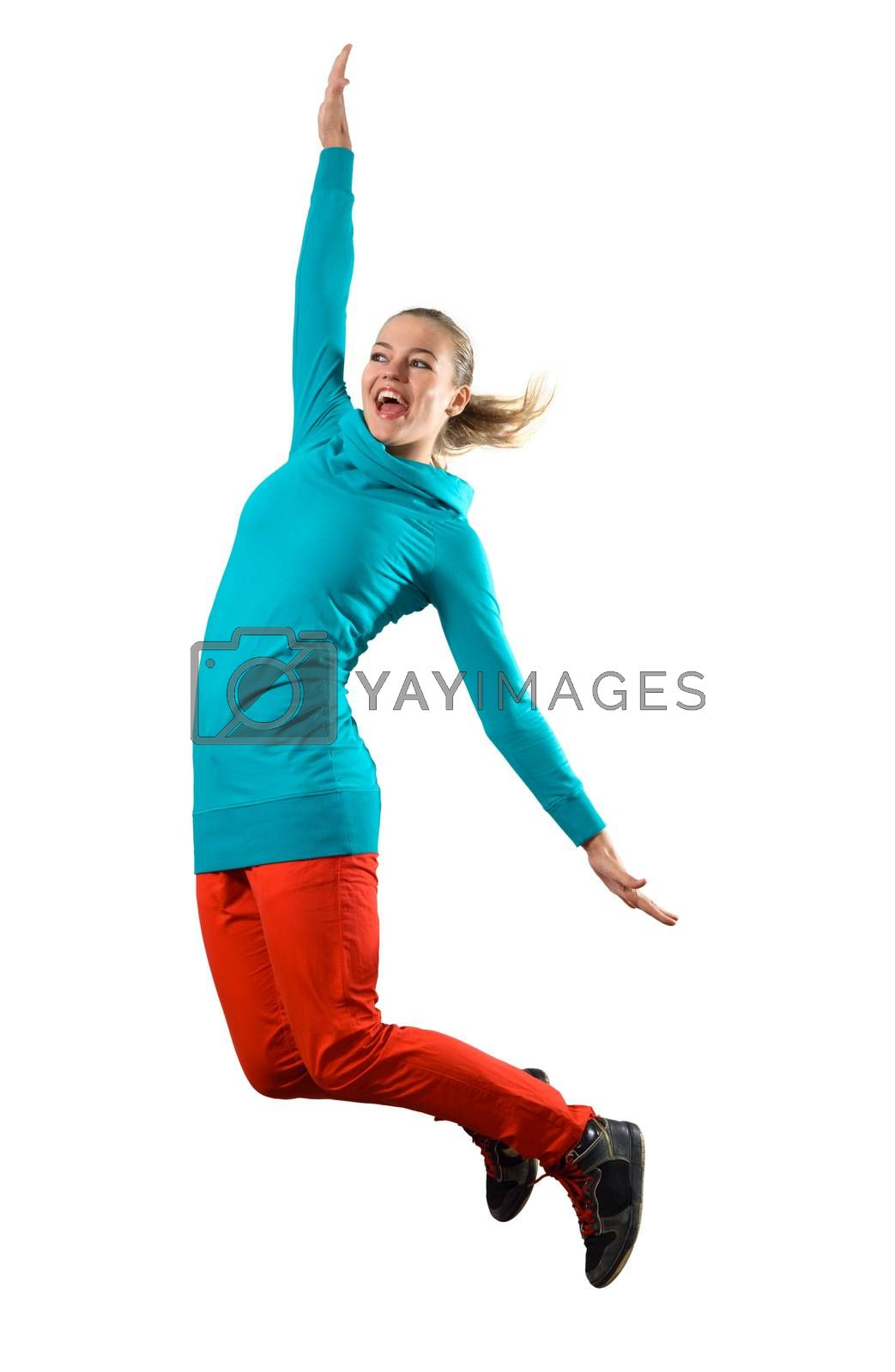 Young woman dancer jumping isolated on white