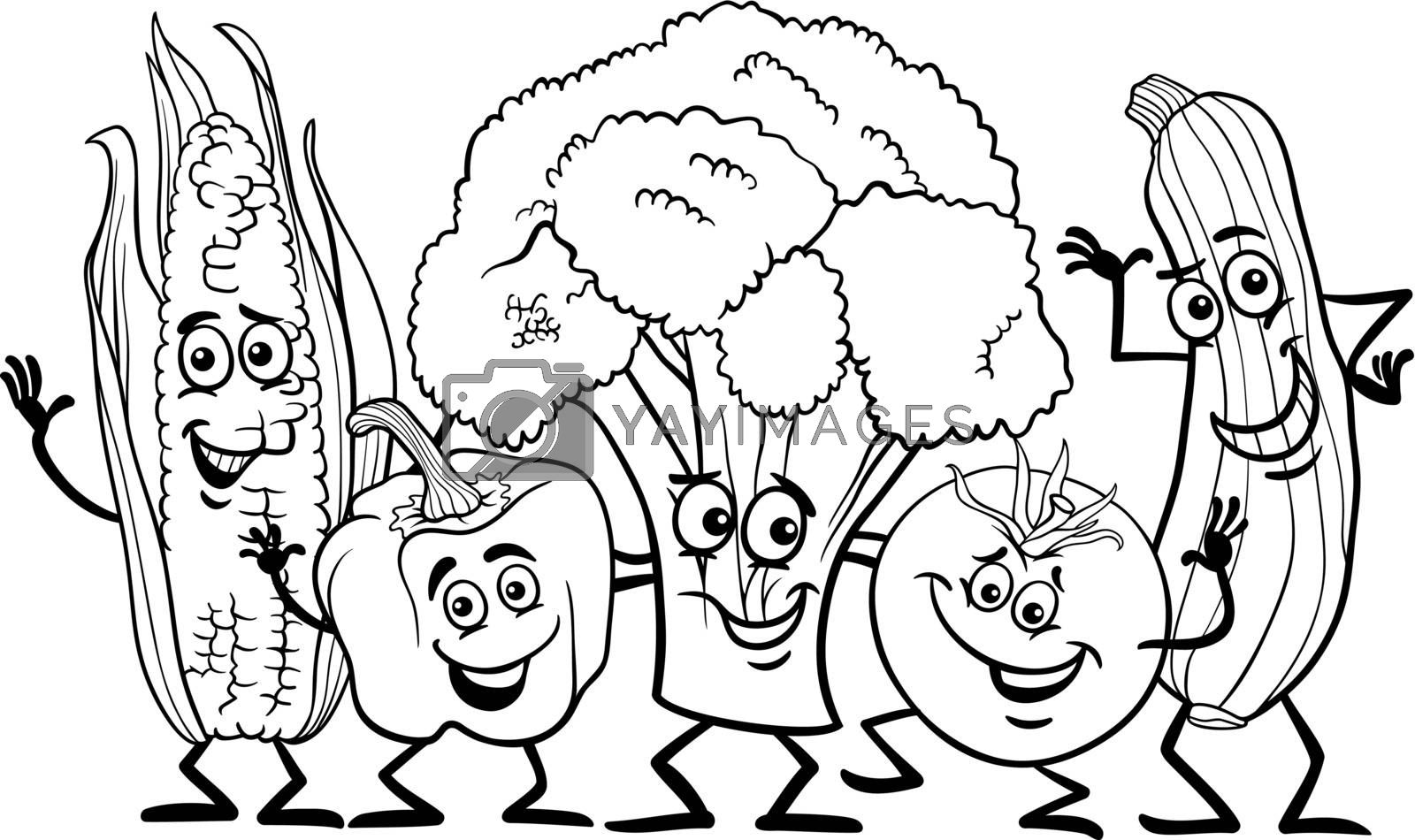 Black and White Cartoon Illustration of Happy Vegetables Food Characters Group for Coloring Book