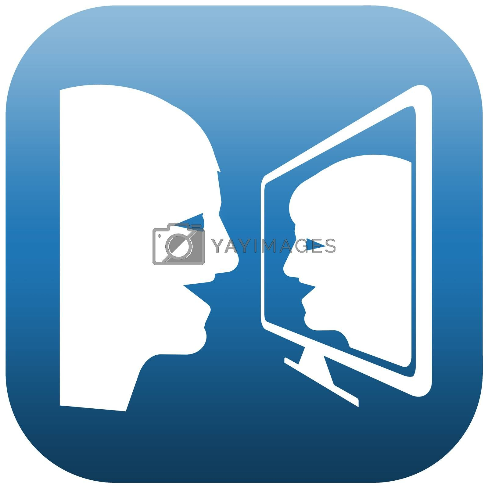 Blue and white icon illustration of two people doing chat on a screen