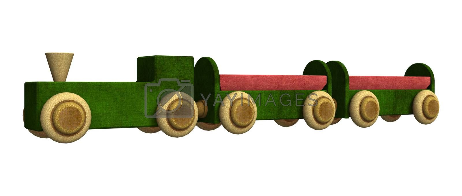 3D digital render of a toy train isolated on white background