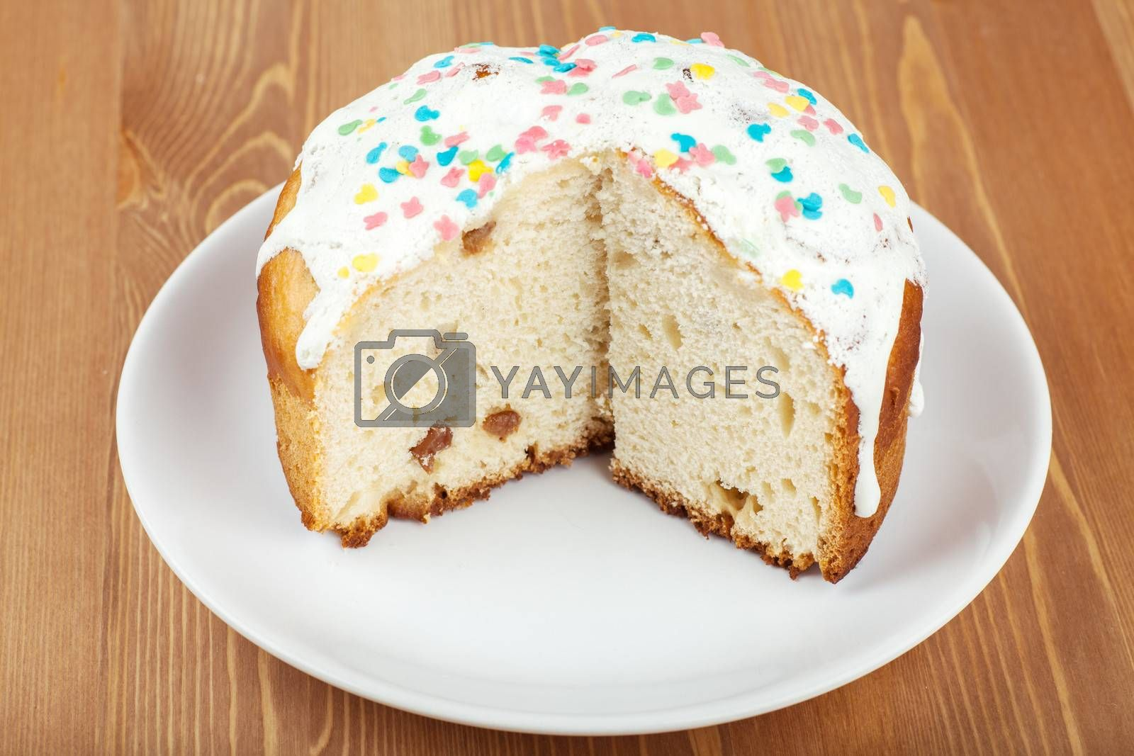 Closeup view of cake with icing on a plate