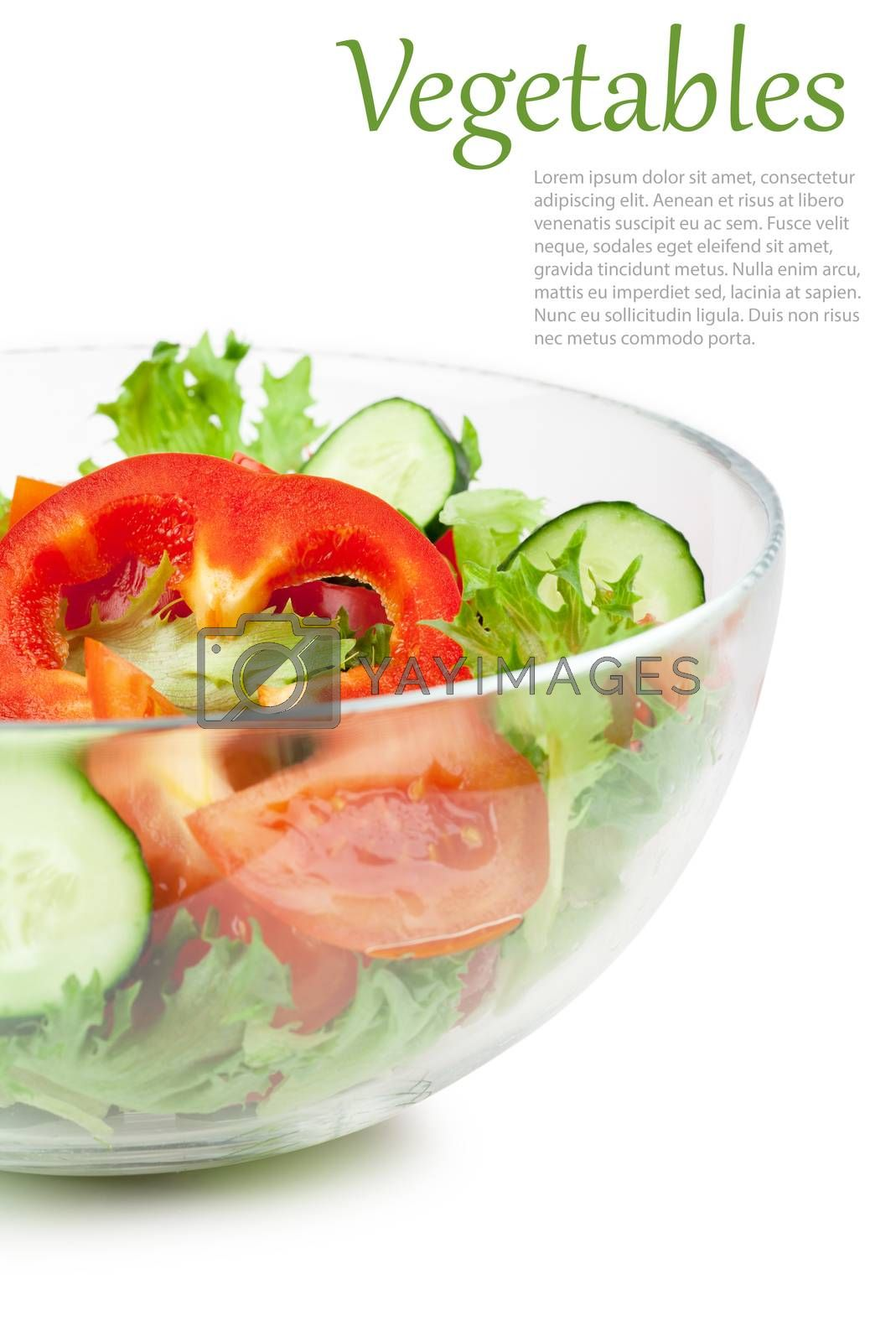 Fresh salad with tomato cucumbers and peppers