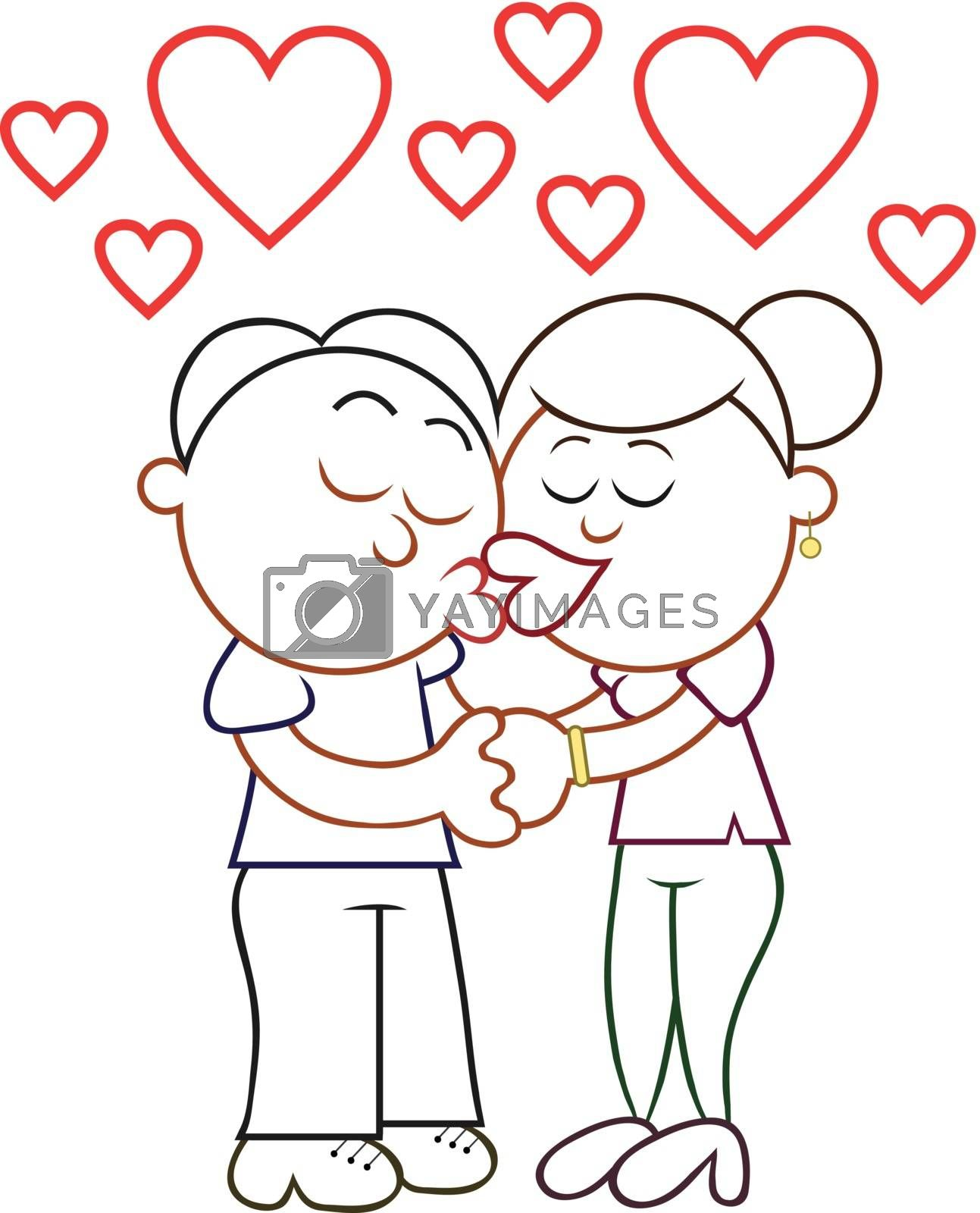 Cartoon man and woman kissing with hearts.