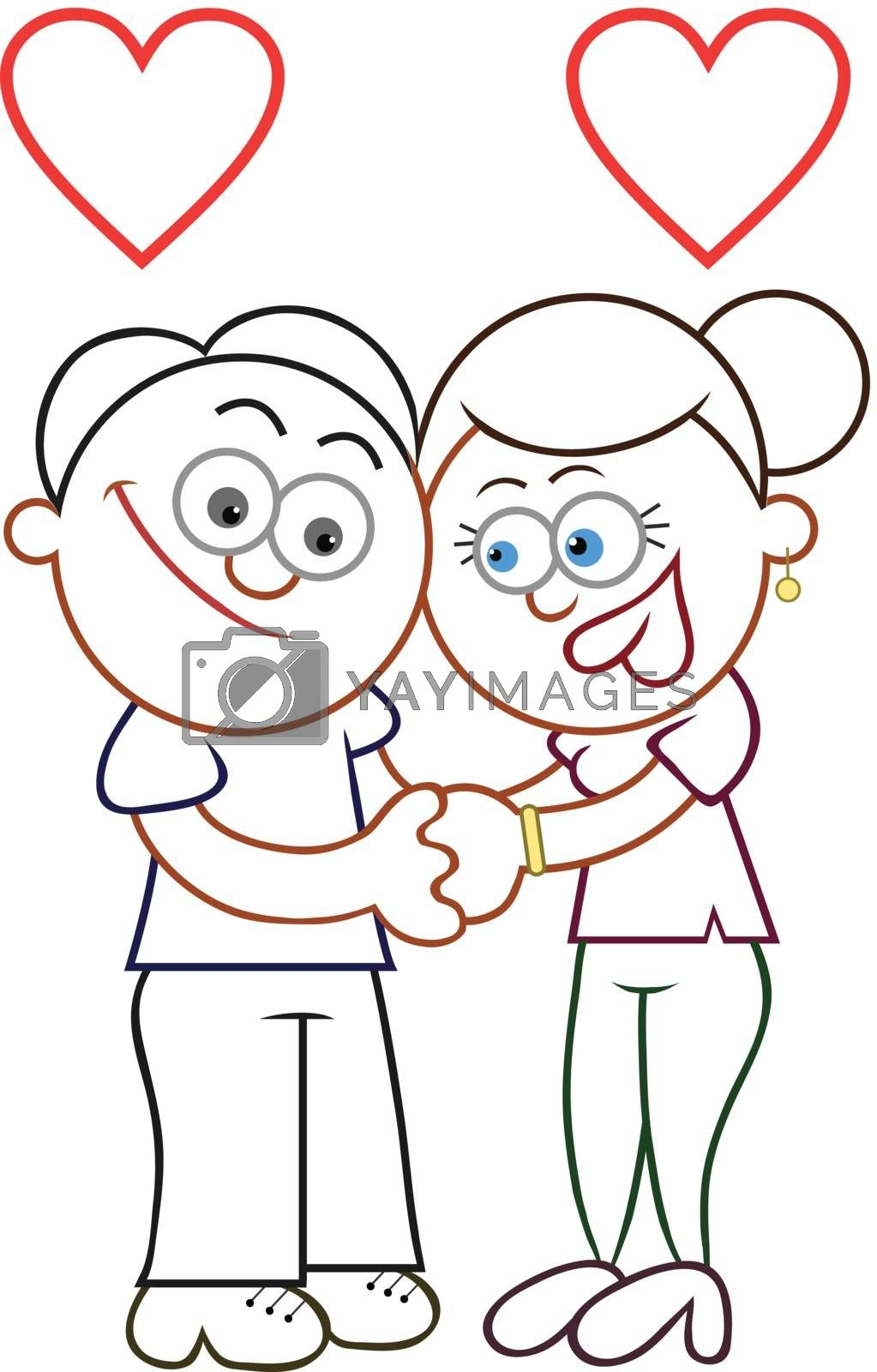 Cartoon man and woman holding hands with two love hearts.