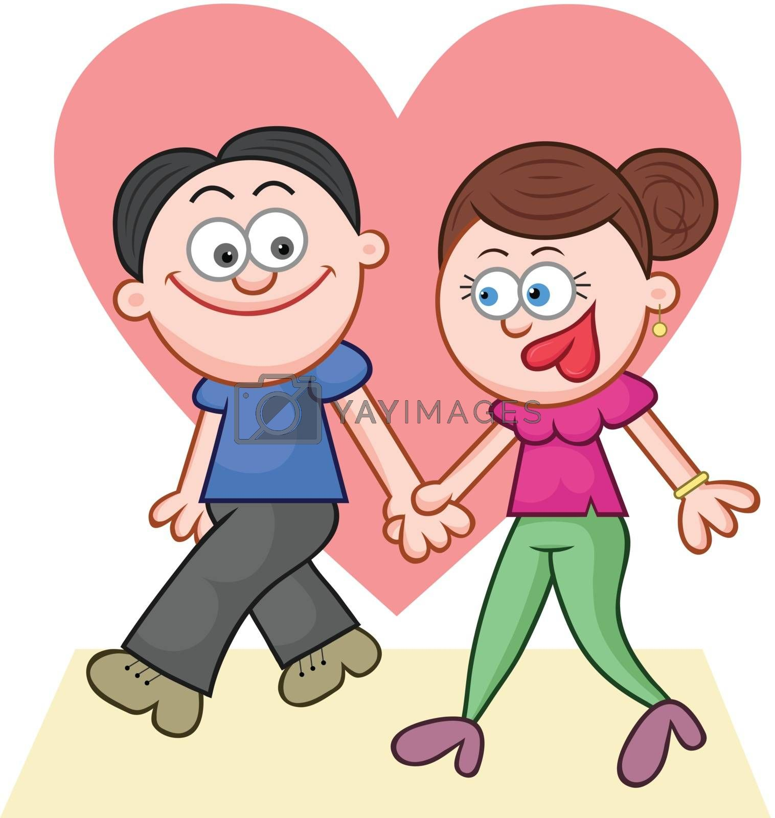 Cartoon couple holding hands and walking with big love heart.
