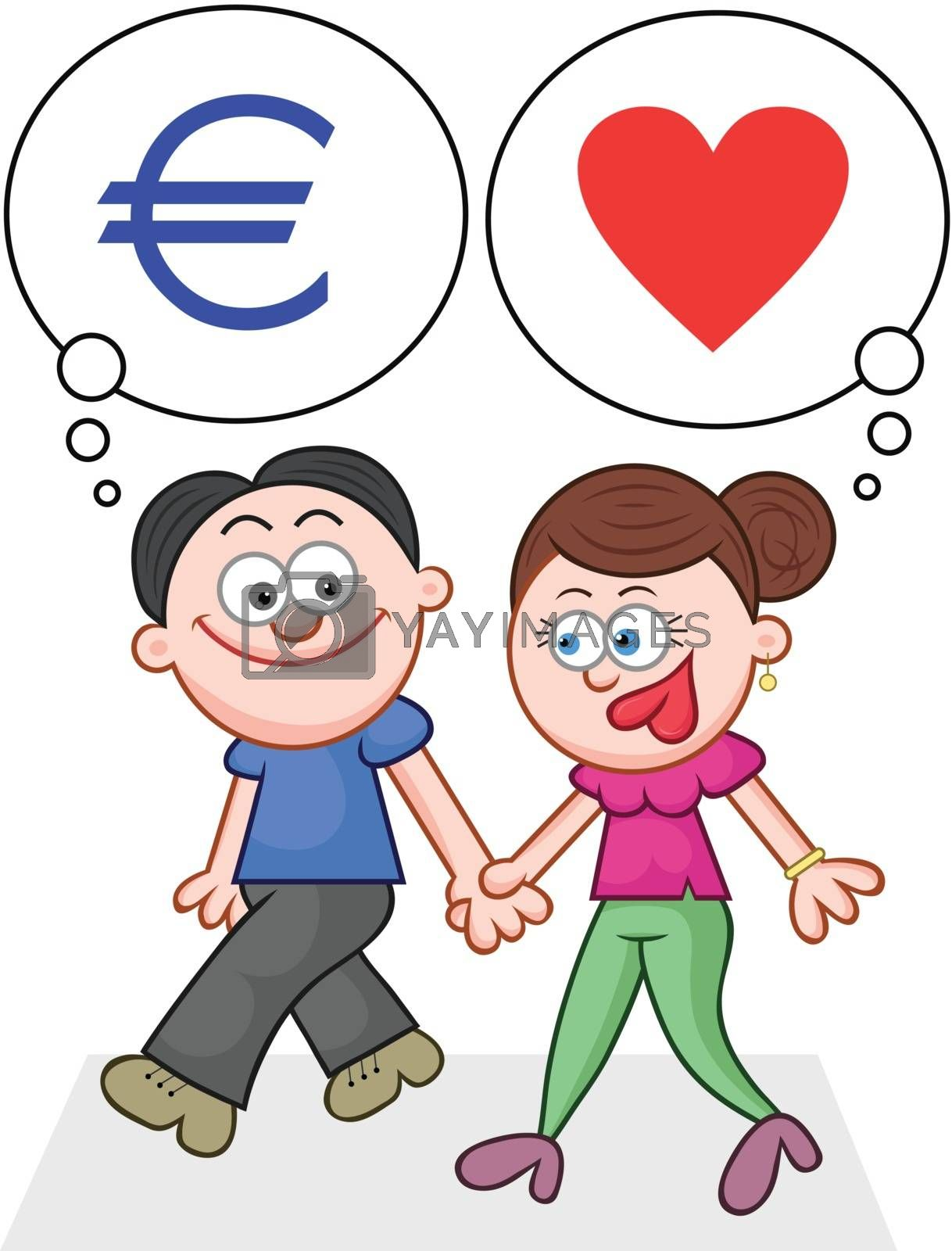 Cartoon couple holding hands and walking with love and money thoughts.