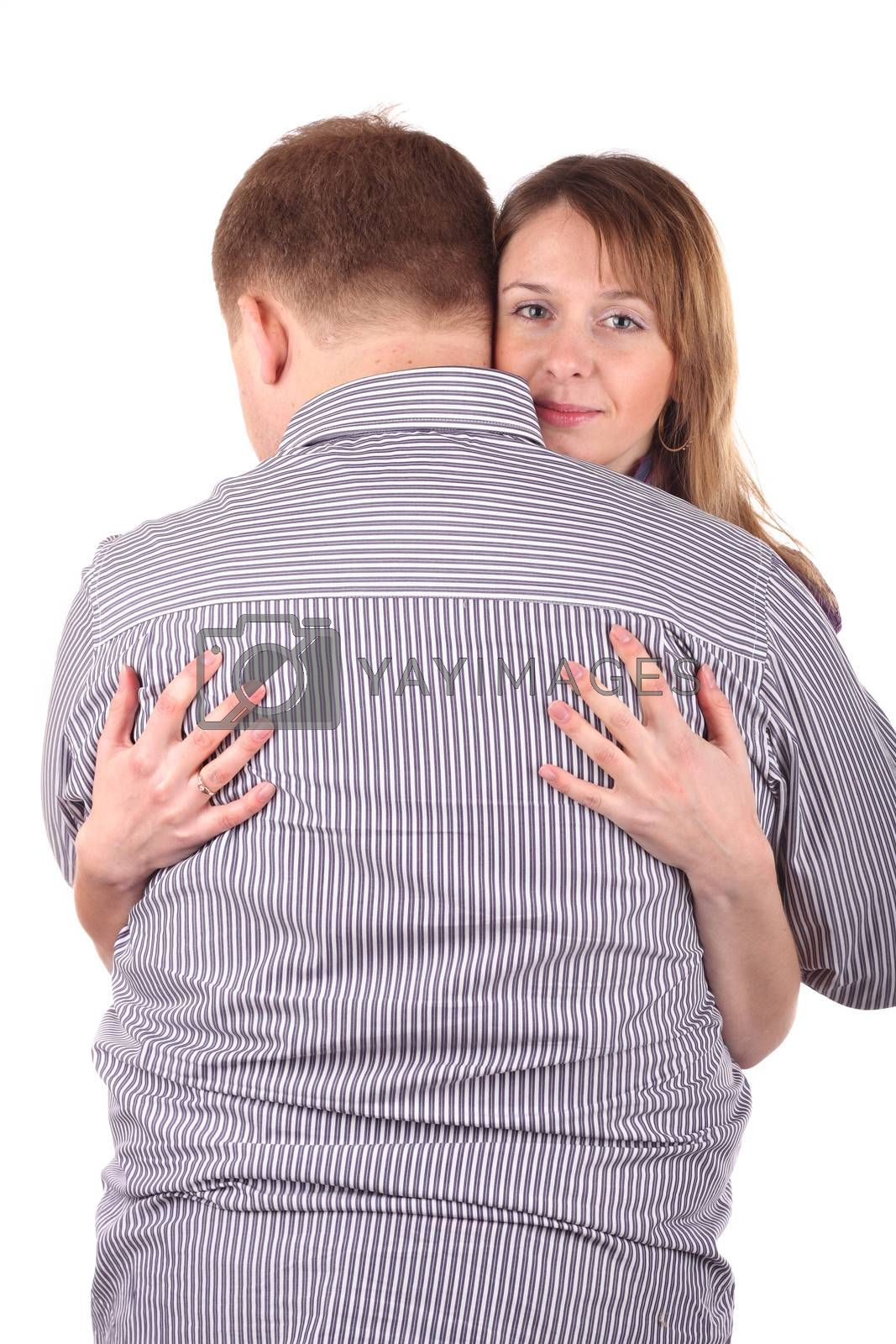 Girl embracing man isolated on the white background