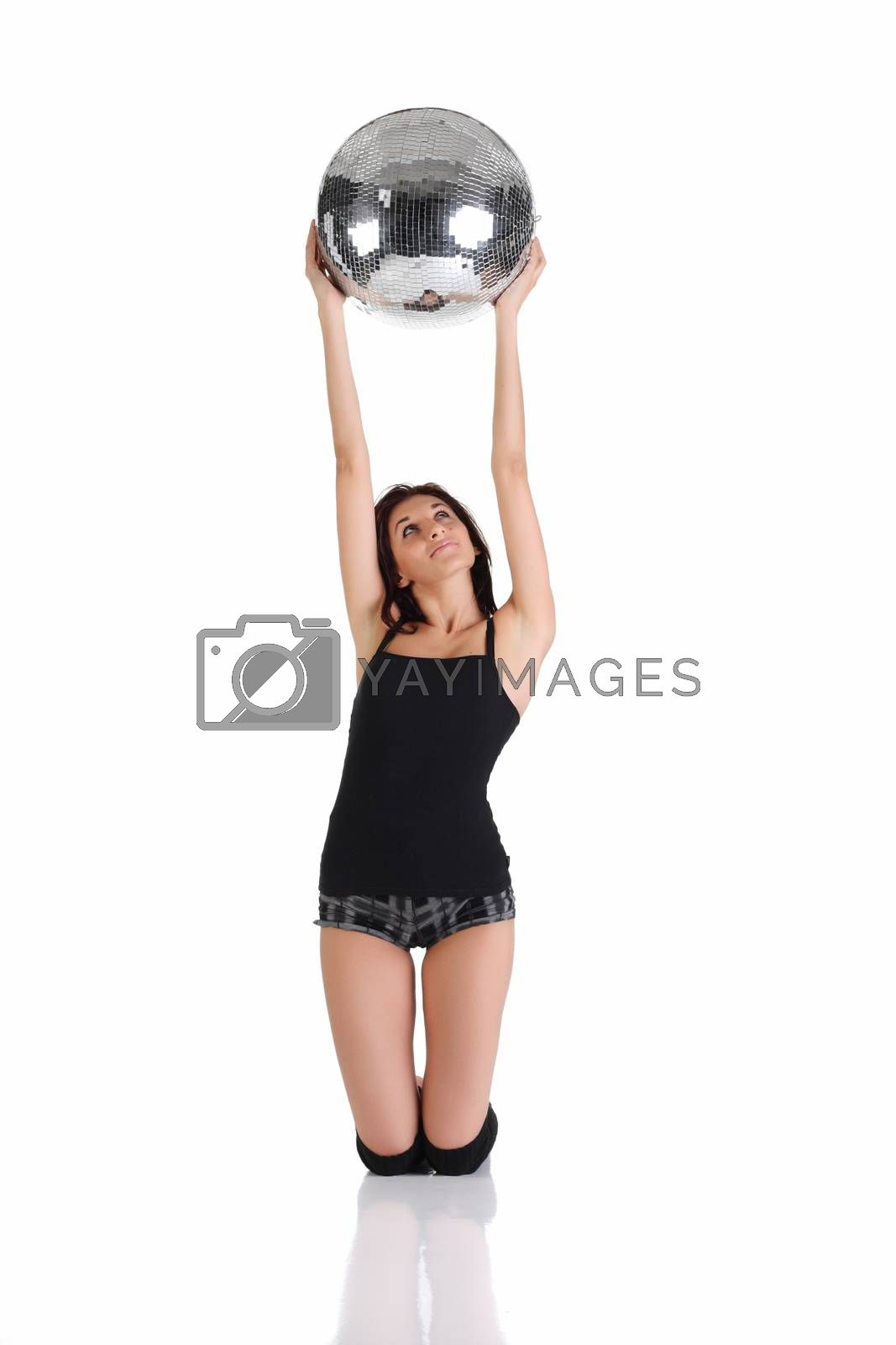 Girl holding disco ball isolated on the white background