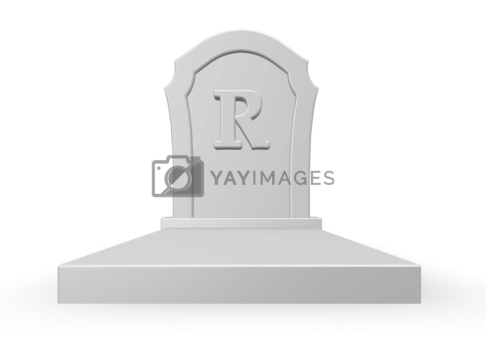 gravestone with uppercase letter r on white background - 3d illustration