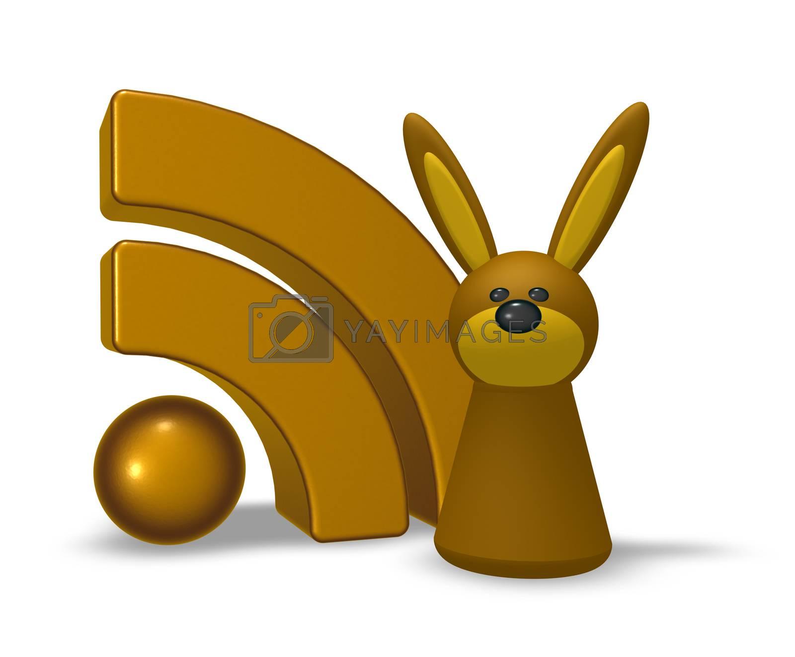 rss symbol and rabbit - 3d illustration