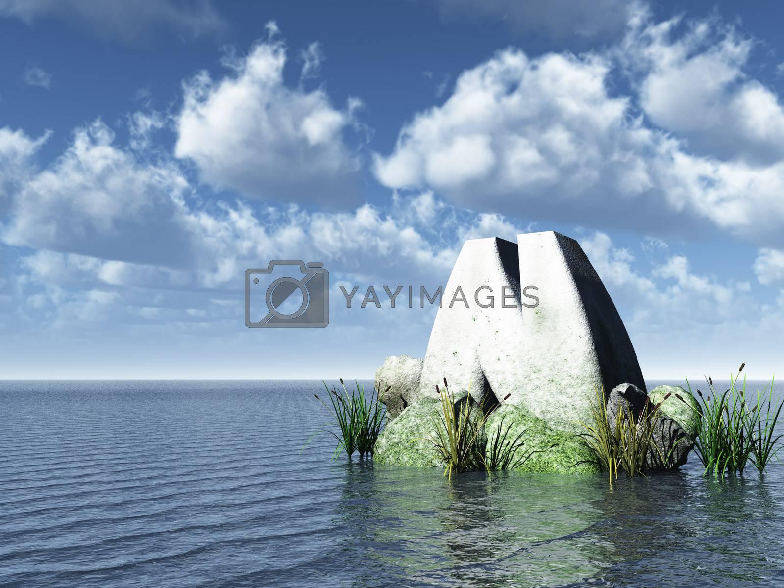 letter n monument in water landscape - 3d illustration