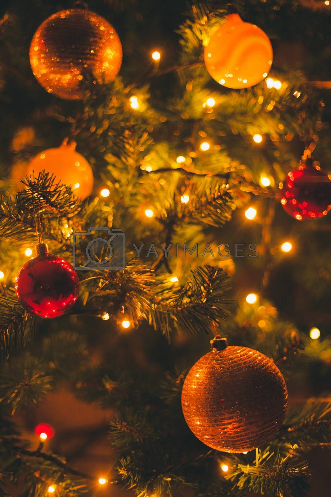 Christmas decoration details in warm home