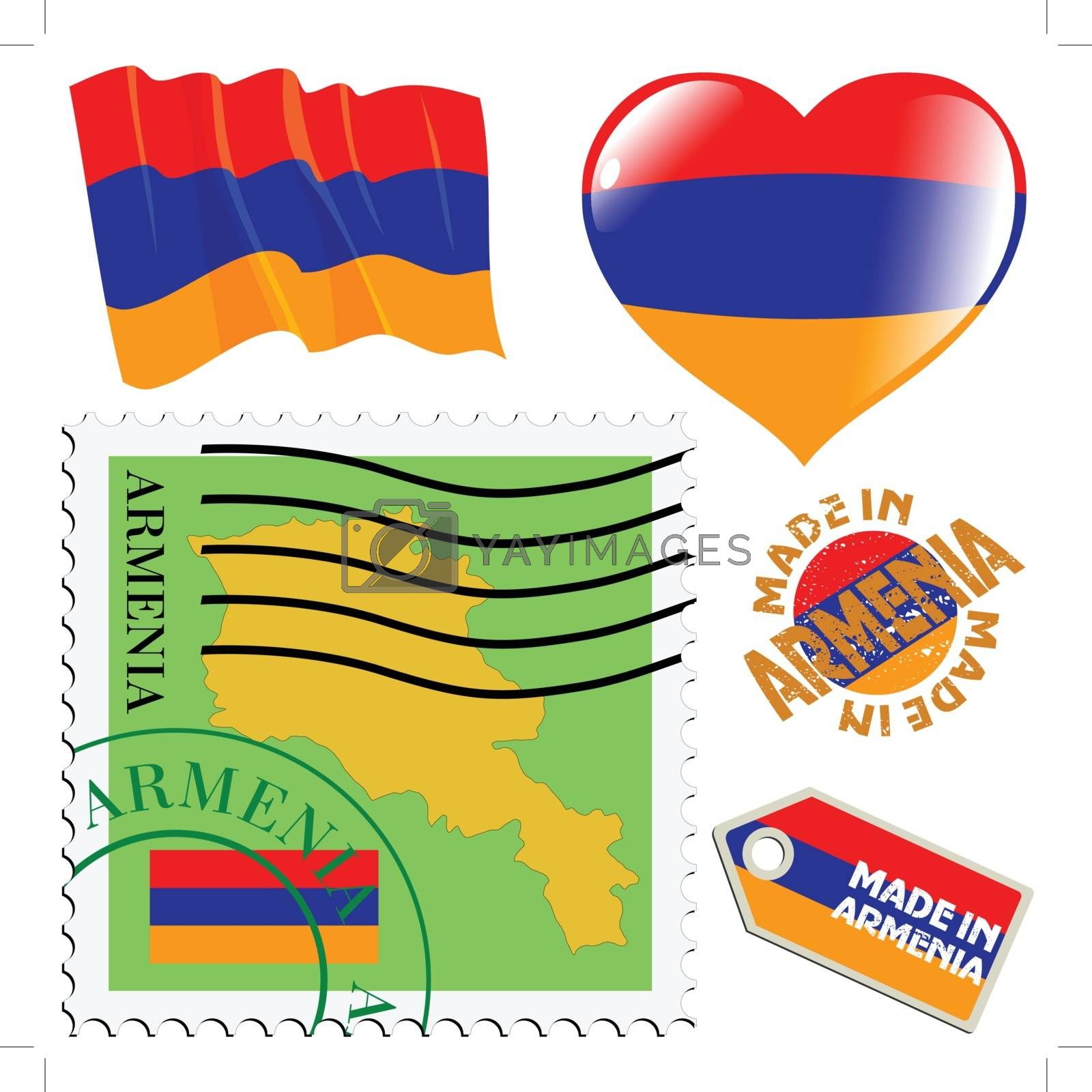 set of different symbols in national colours of Armenia