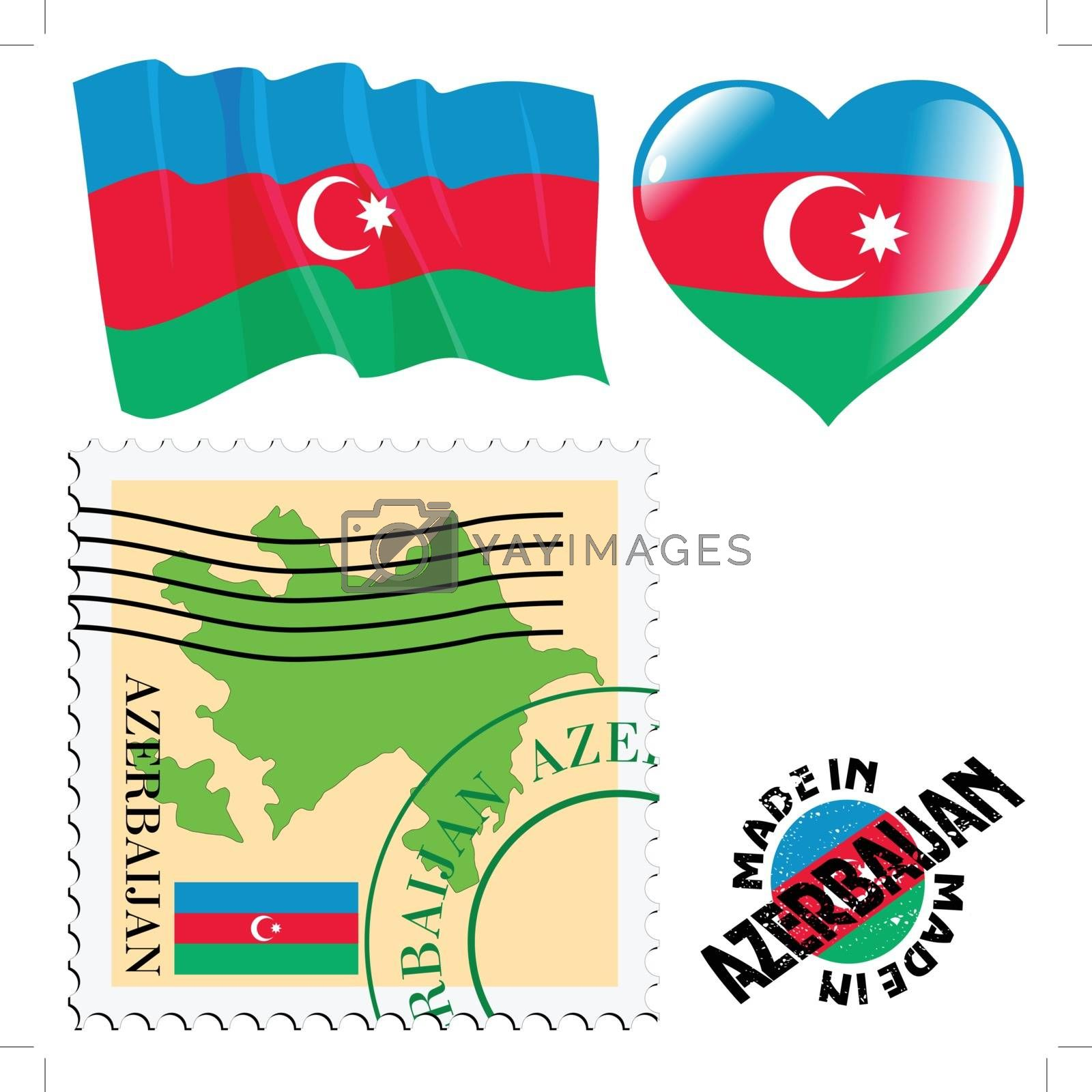 set of different symbols in national colours of Azerbaijan