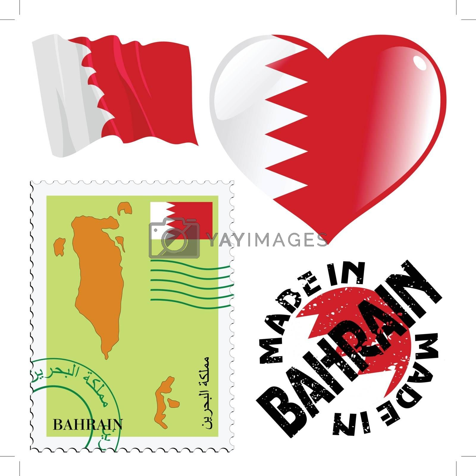 set of different symbols in national colours of Bahrain