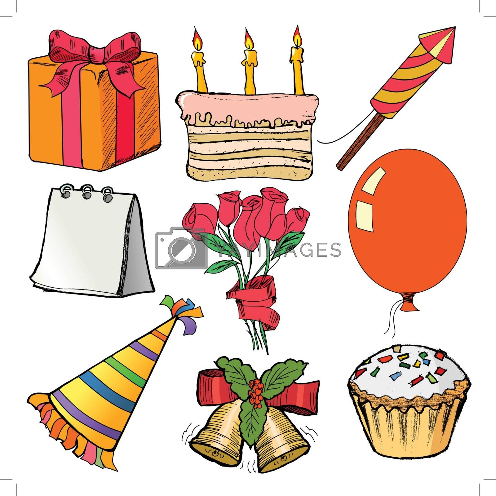 hand drawn, cartoon, sketch illustration of objects for celebration
