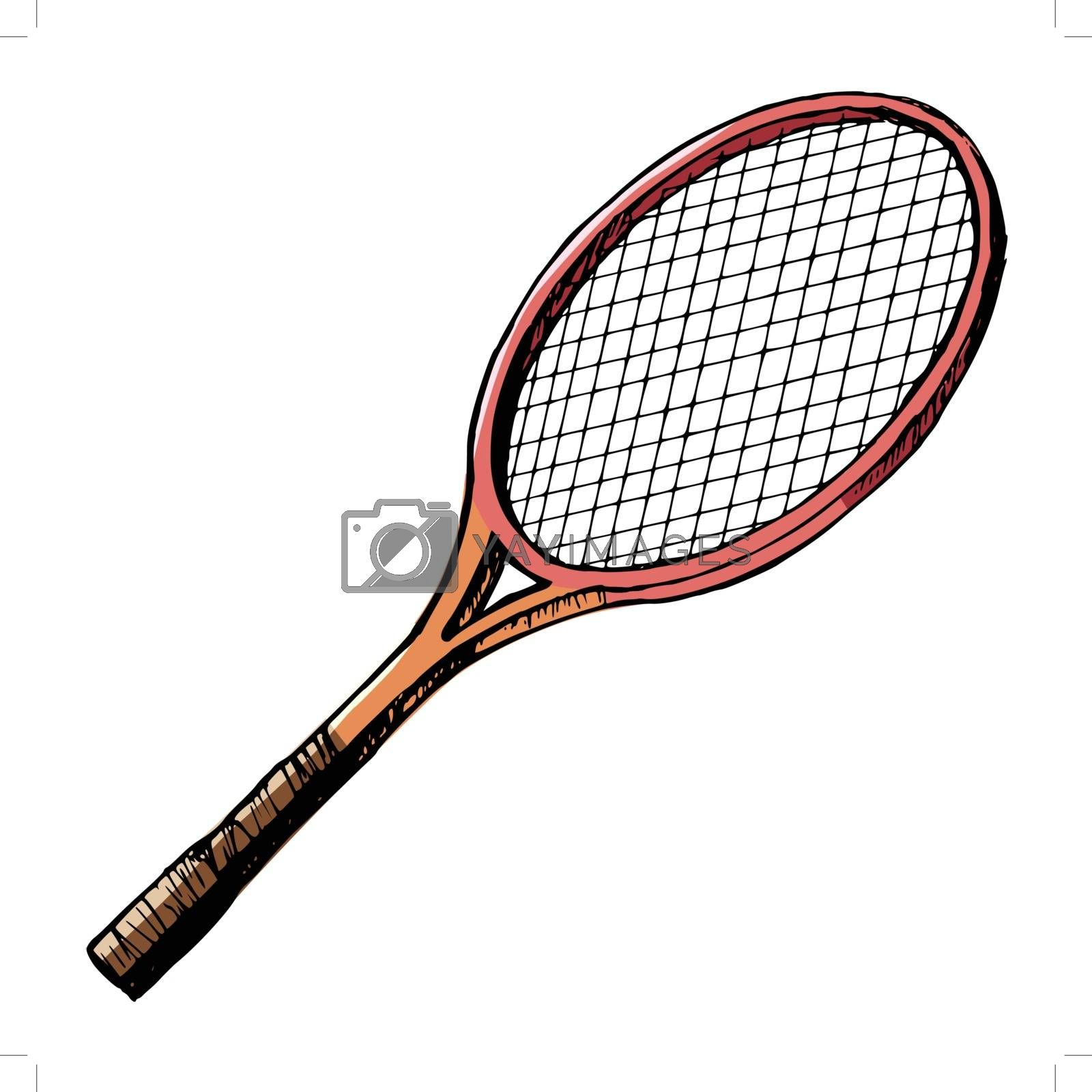 hand drawn, cartoon, sketch illustration of tennis bat
