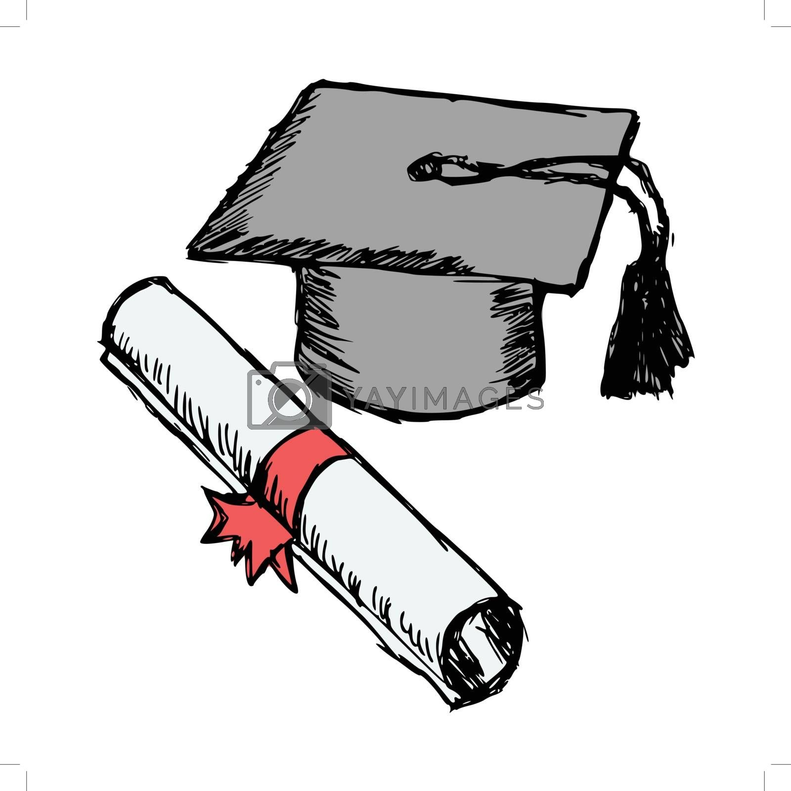 hand drawn, cartoon, sketch illustration of diploma
