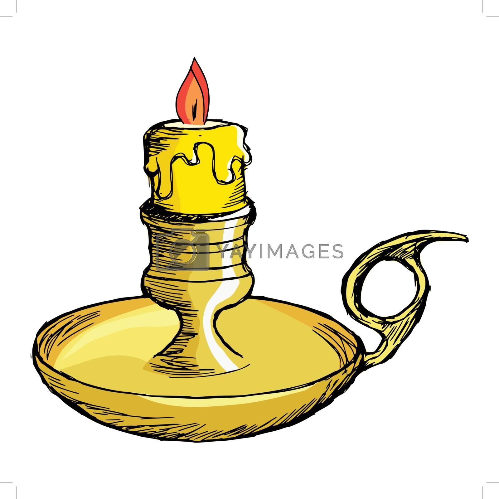 hand drawn, cartoon, sketch illustration of candlestick mantel