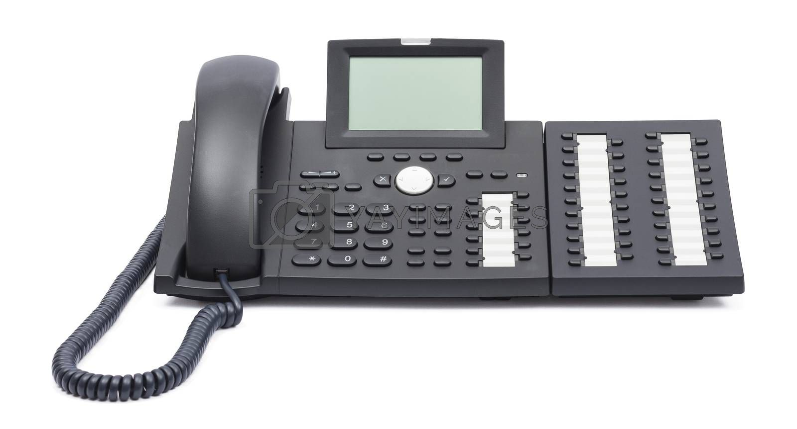 modern voip phone isolated on white background. single object