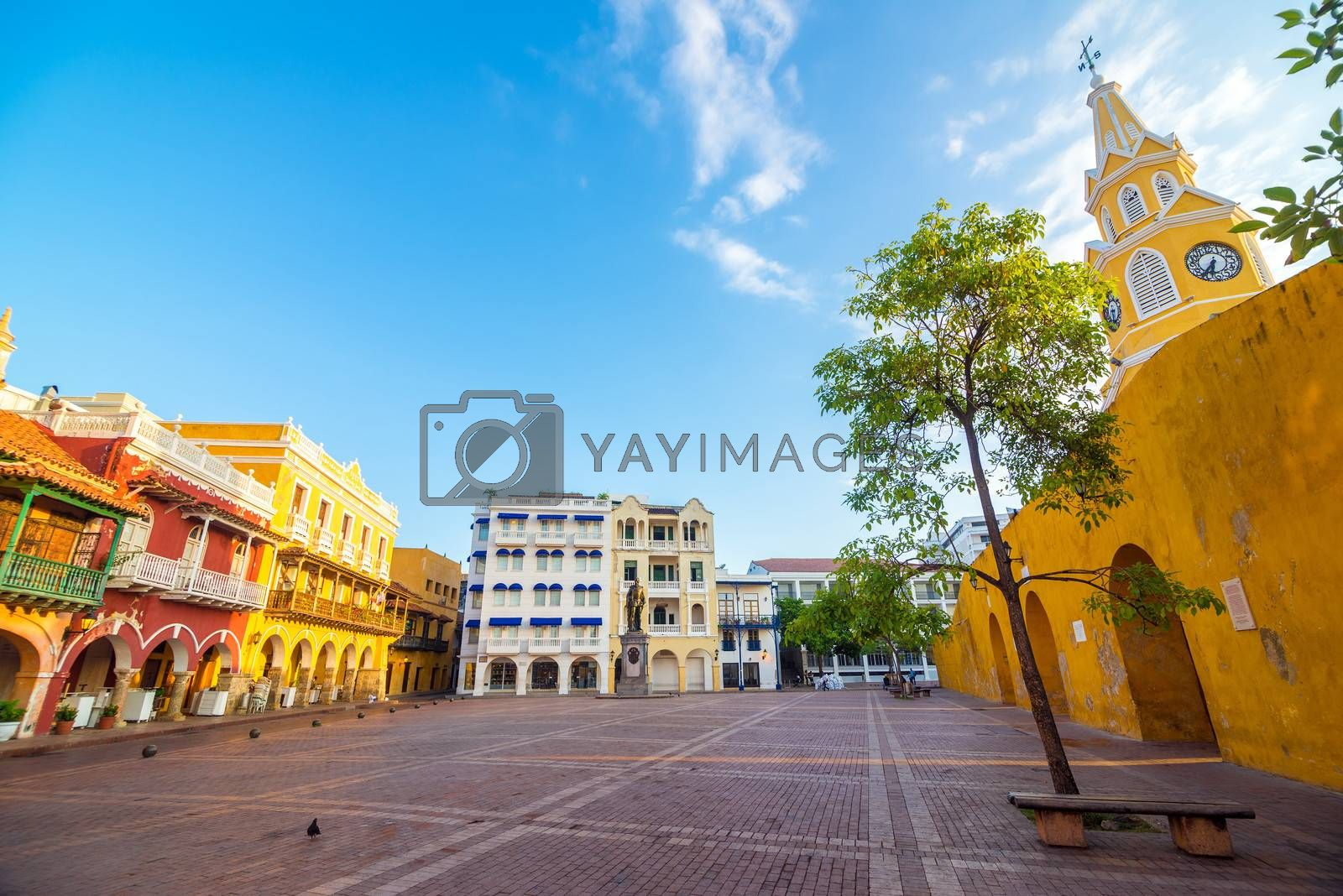 Plaza next to the clock tower gate in the heart of the old town of Cartagena, Colombia