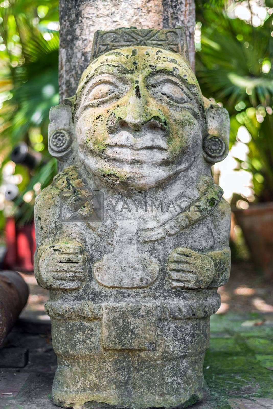 Ancient pre-columbian statue in Cartagena, Colombia
