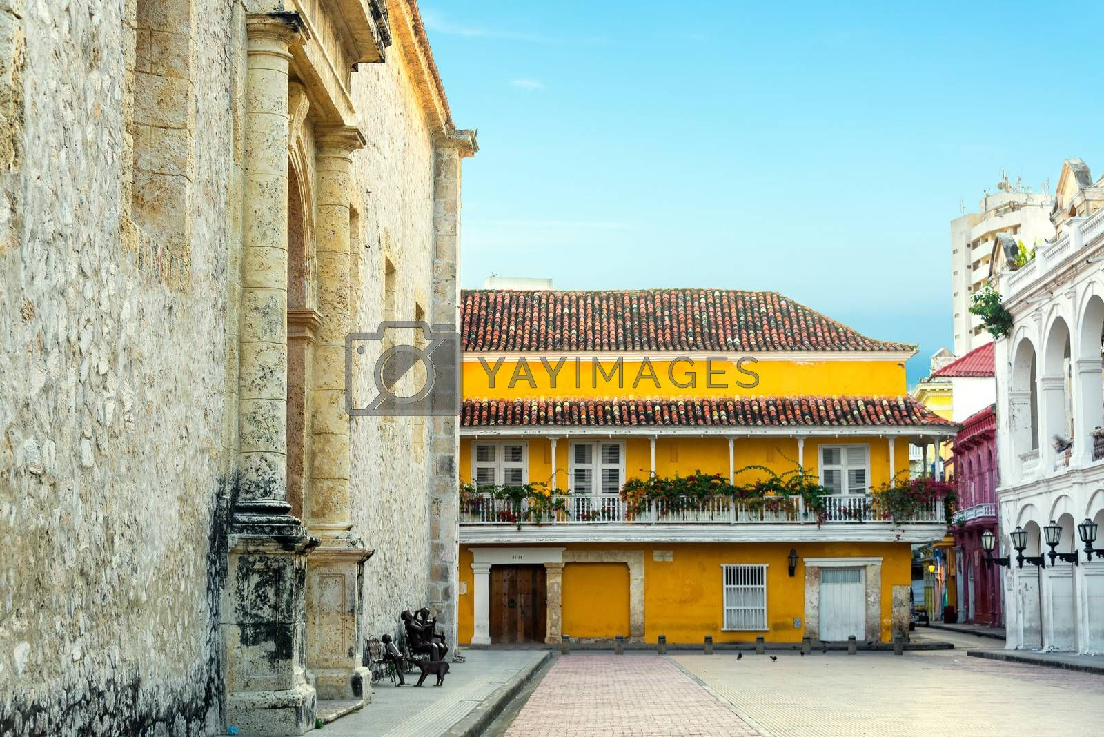 Historic colonial buildings next to the cathedral in Cartagena, Colombia