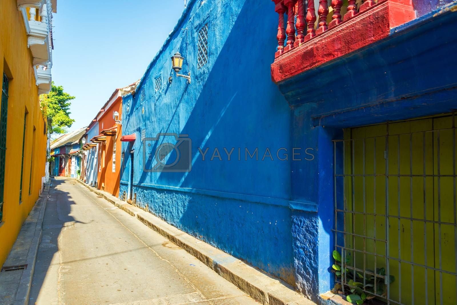 Alley leading past historic colonial houses in the Getsemani neighborhood of Cartagena, Colombia