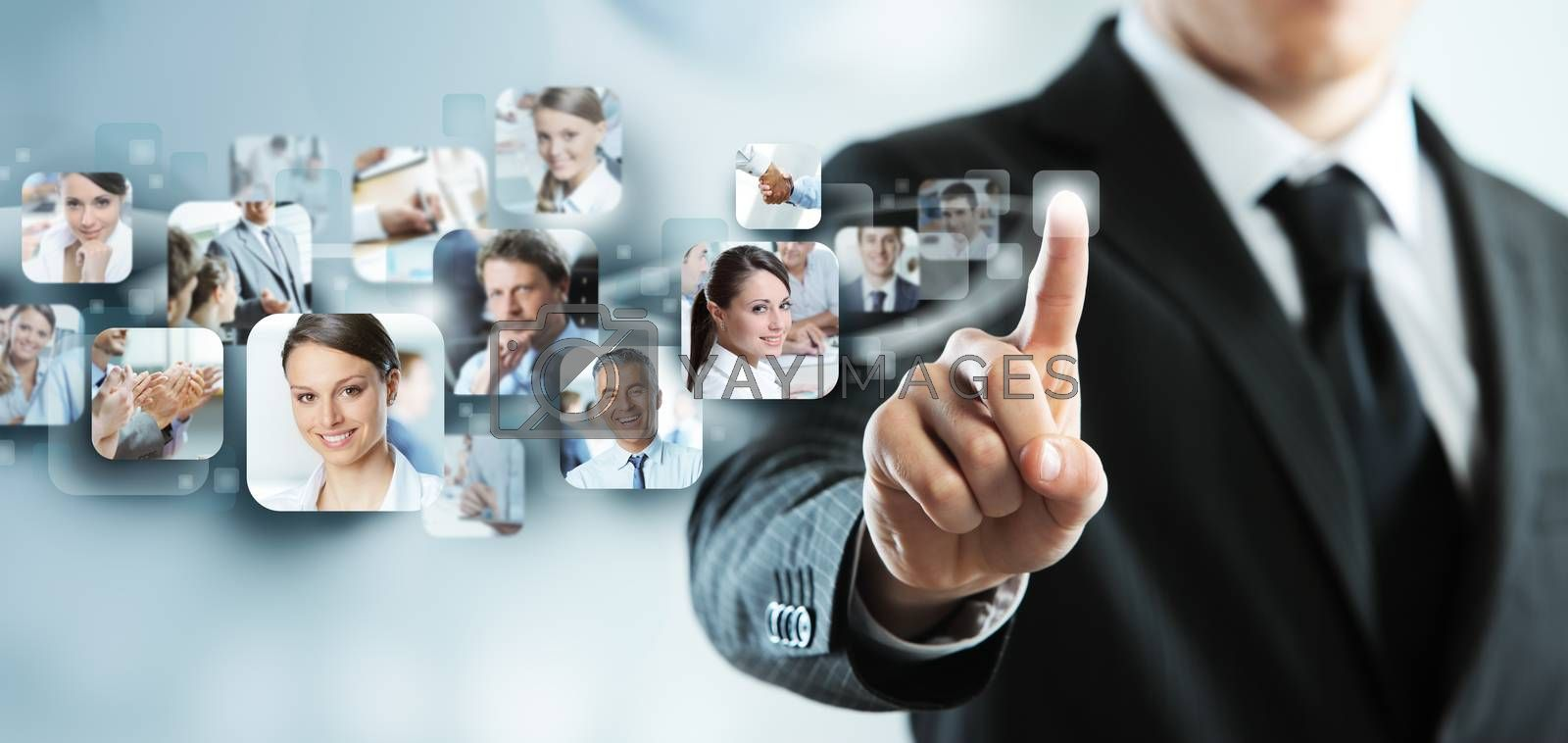 Businessman finger touches virtual buttons