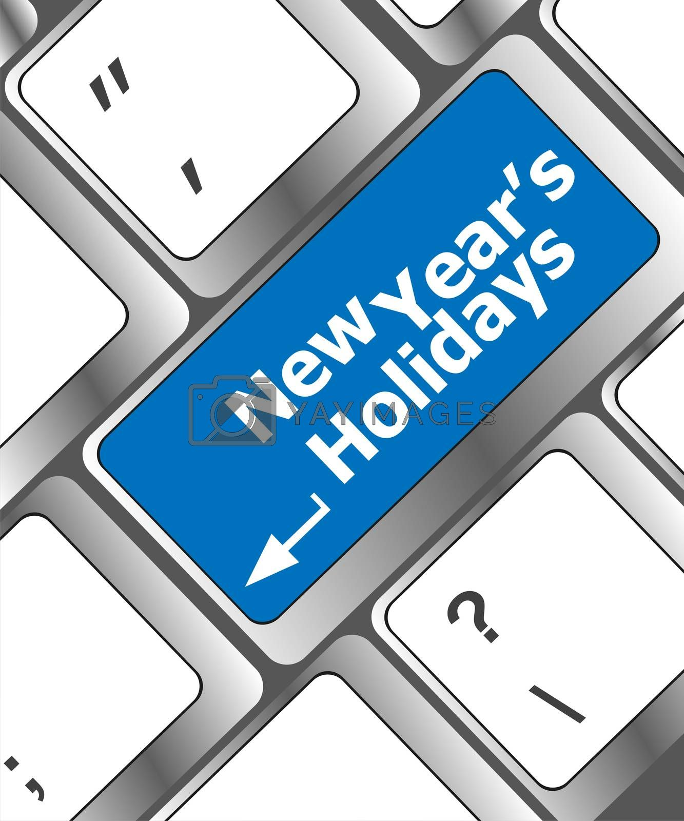 Computer keyboard key with new year holidays words