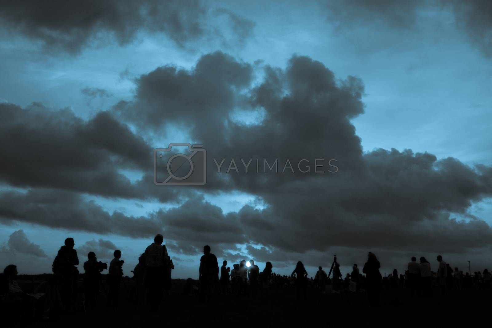 Silhouette of people waiting for balloon race in Miami, Miami-Dade County, Florida, USA