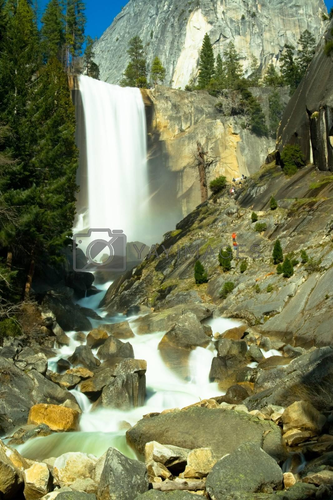Water falling from rocks in a river, Yosemite Mist Trail, Vernal Falls, Yosemite National Park, California, USA