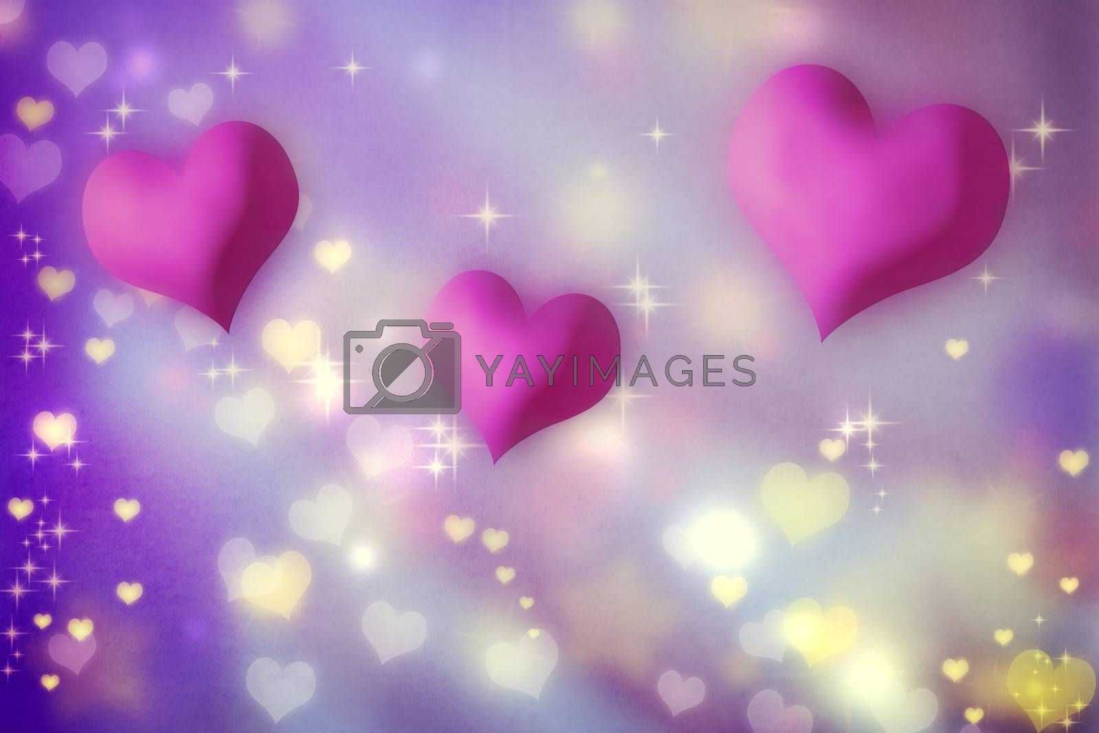 Royalty free image of Pink hearts on purple background by melpomene