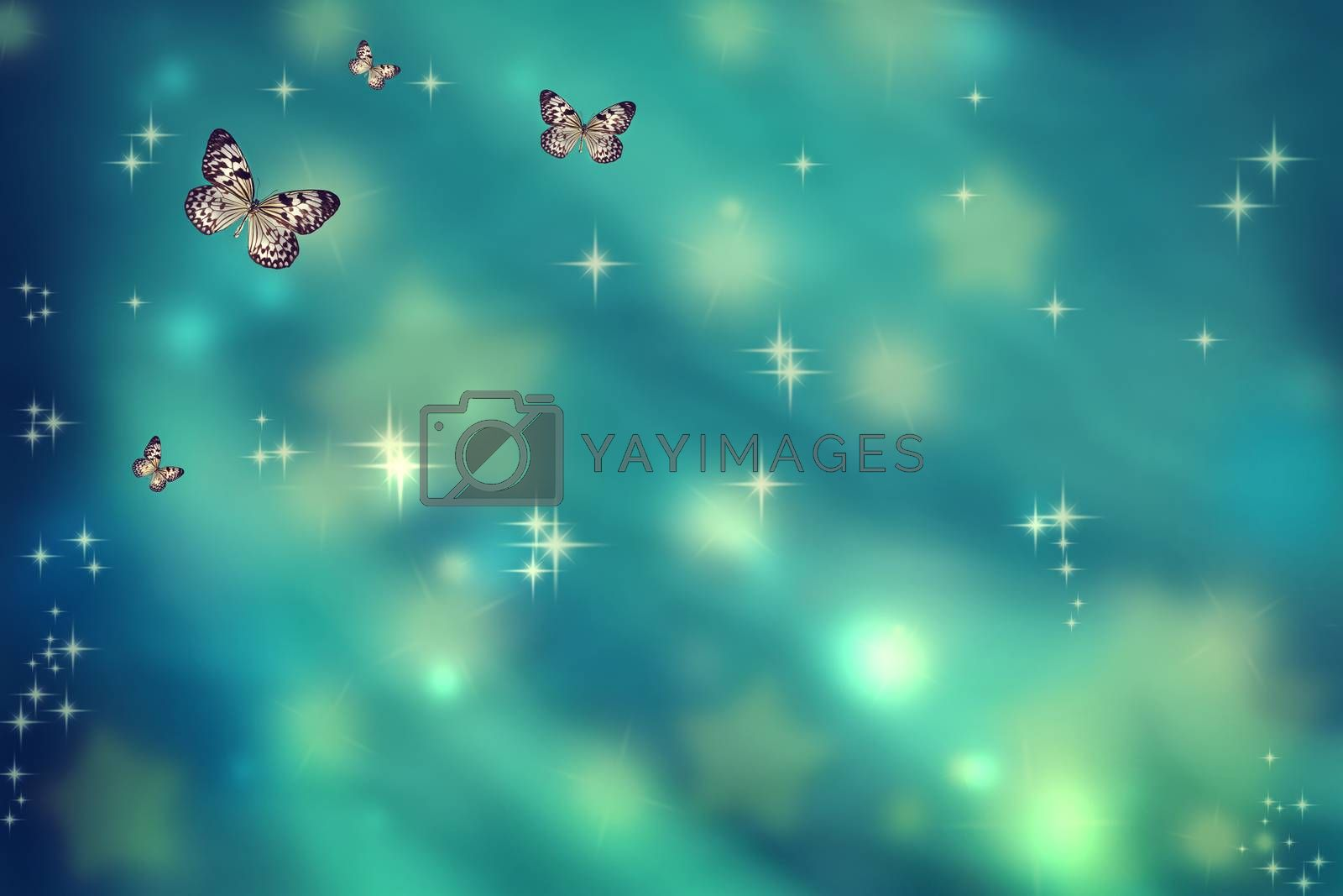 Royalty free image of Butterflies on teal background by melpomene