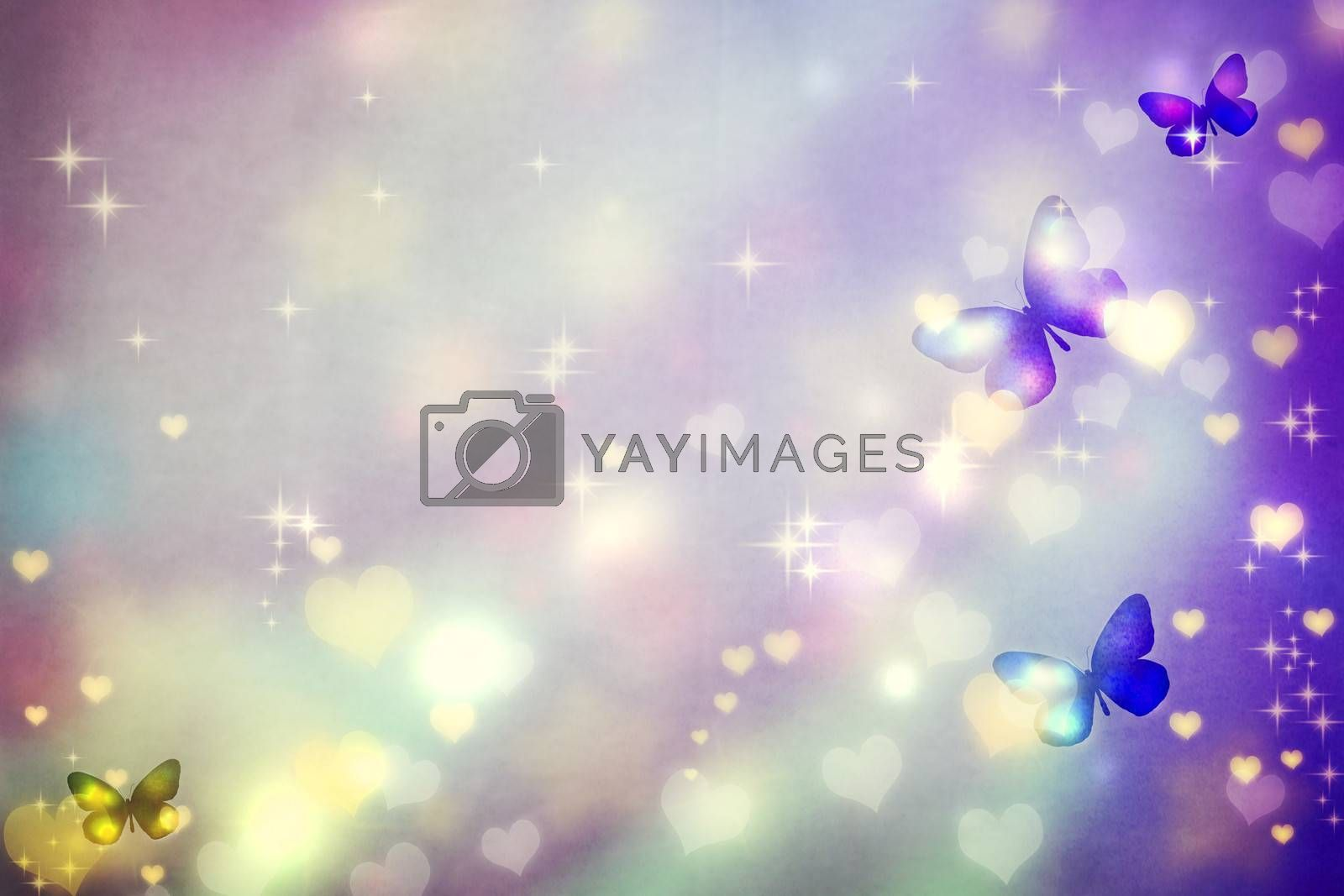 Royalty free image of Butterfly silhouettes on purple background by melpomene