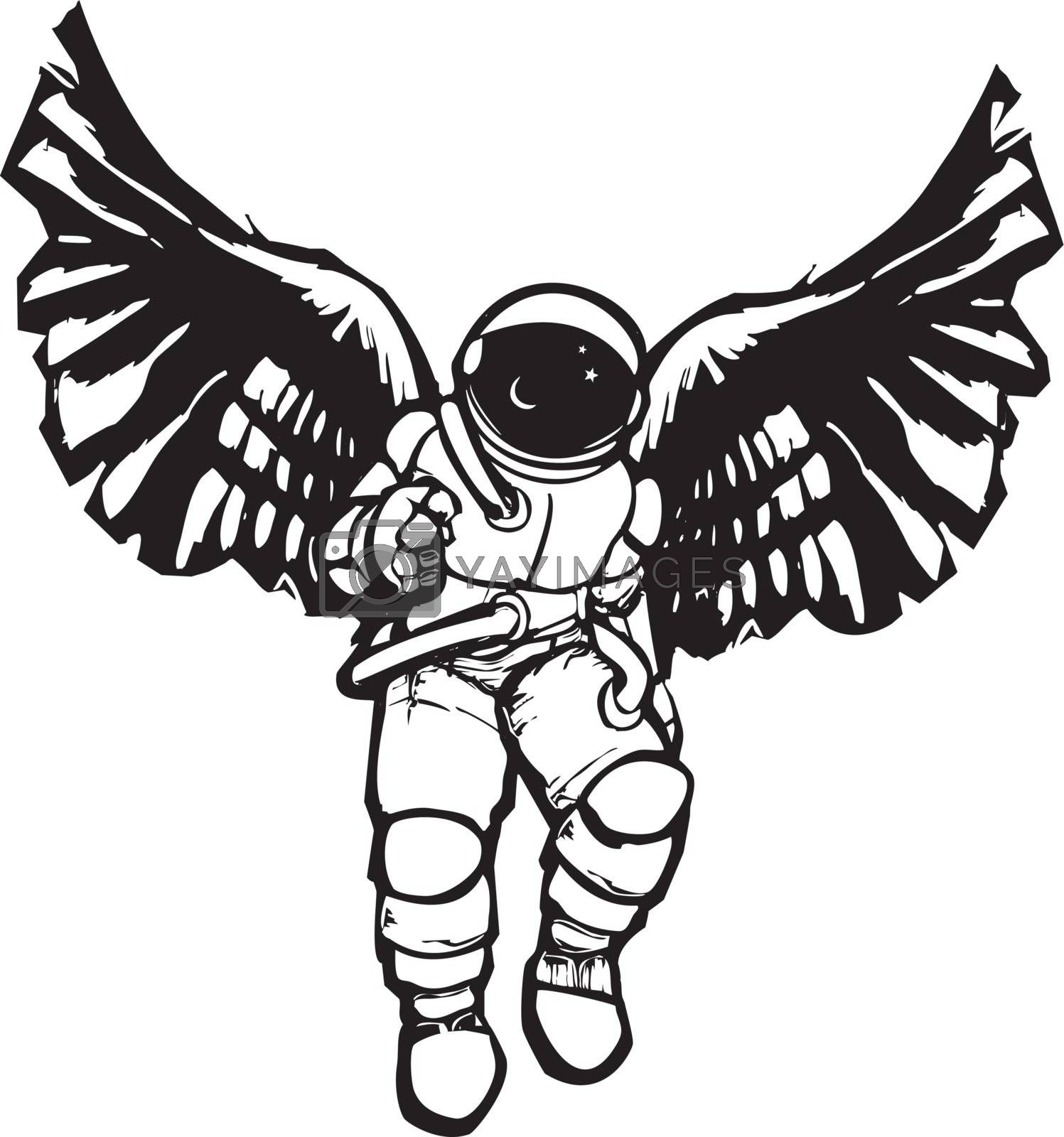 Woodcut style image of an astronaut's space suit with angel wings.