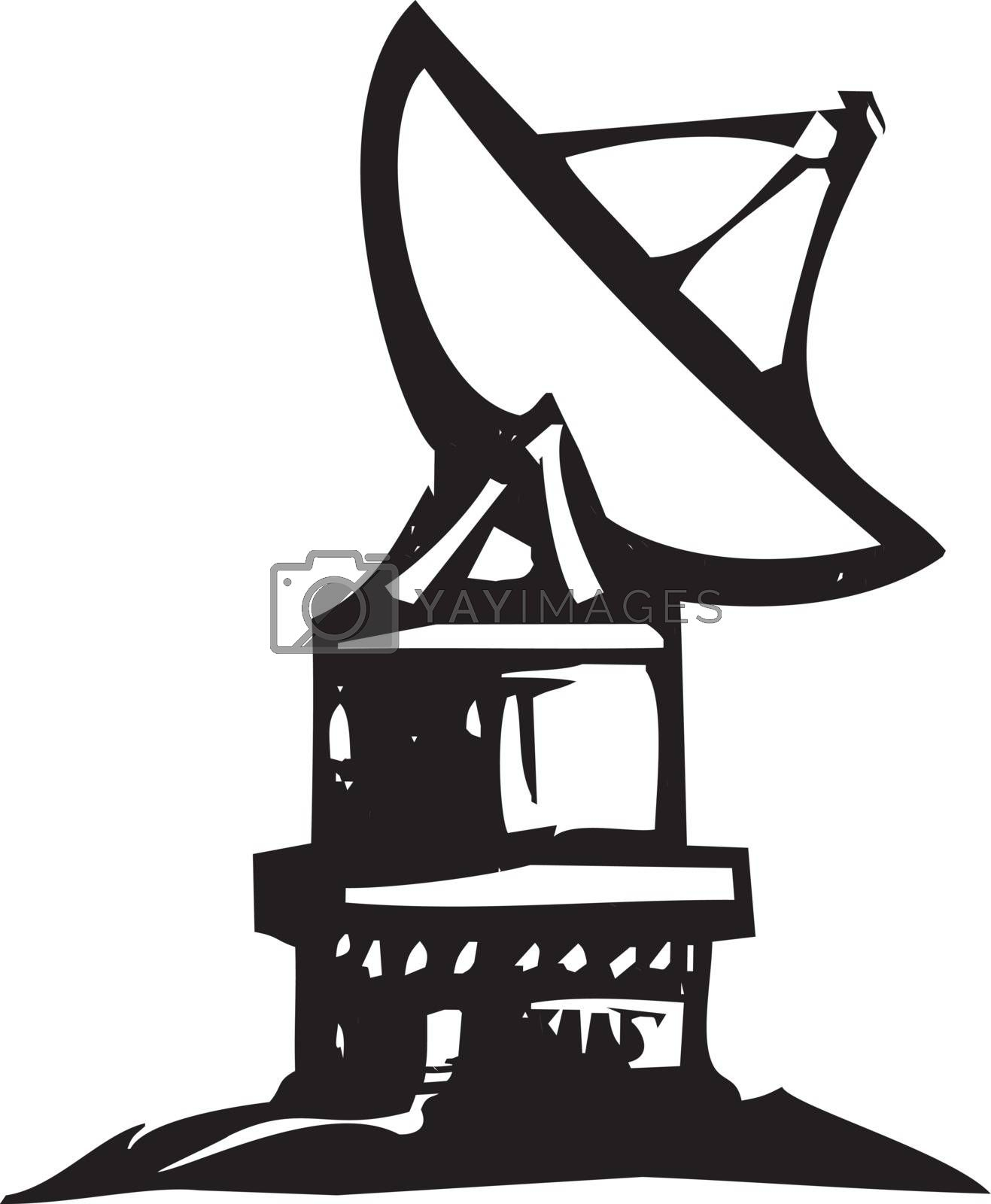 Woodcut style expressionist radio dish telescope pointing at that sky.