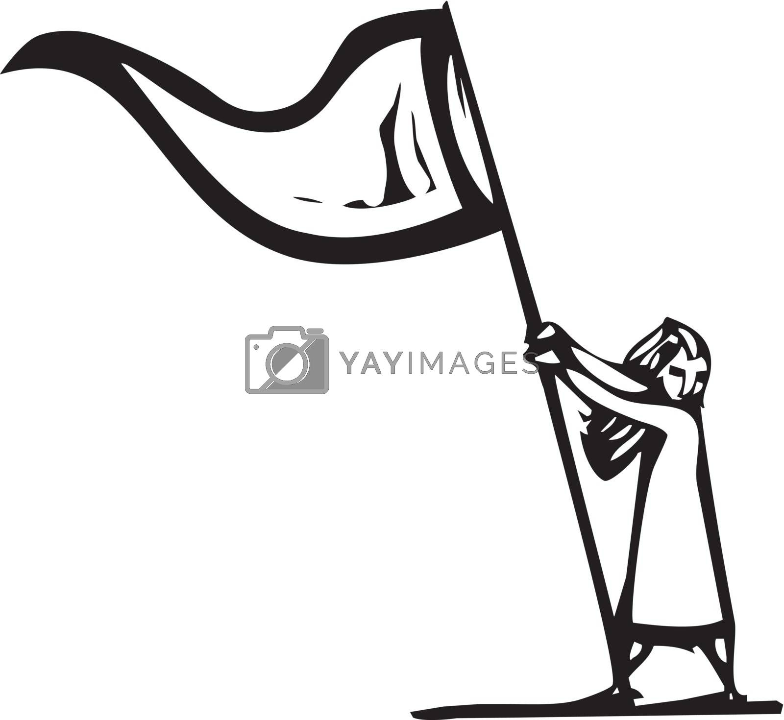 Woodcut expressionist style image of a girl waving a flag