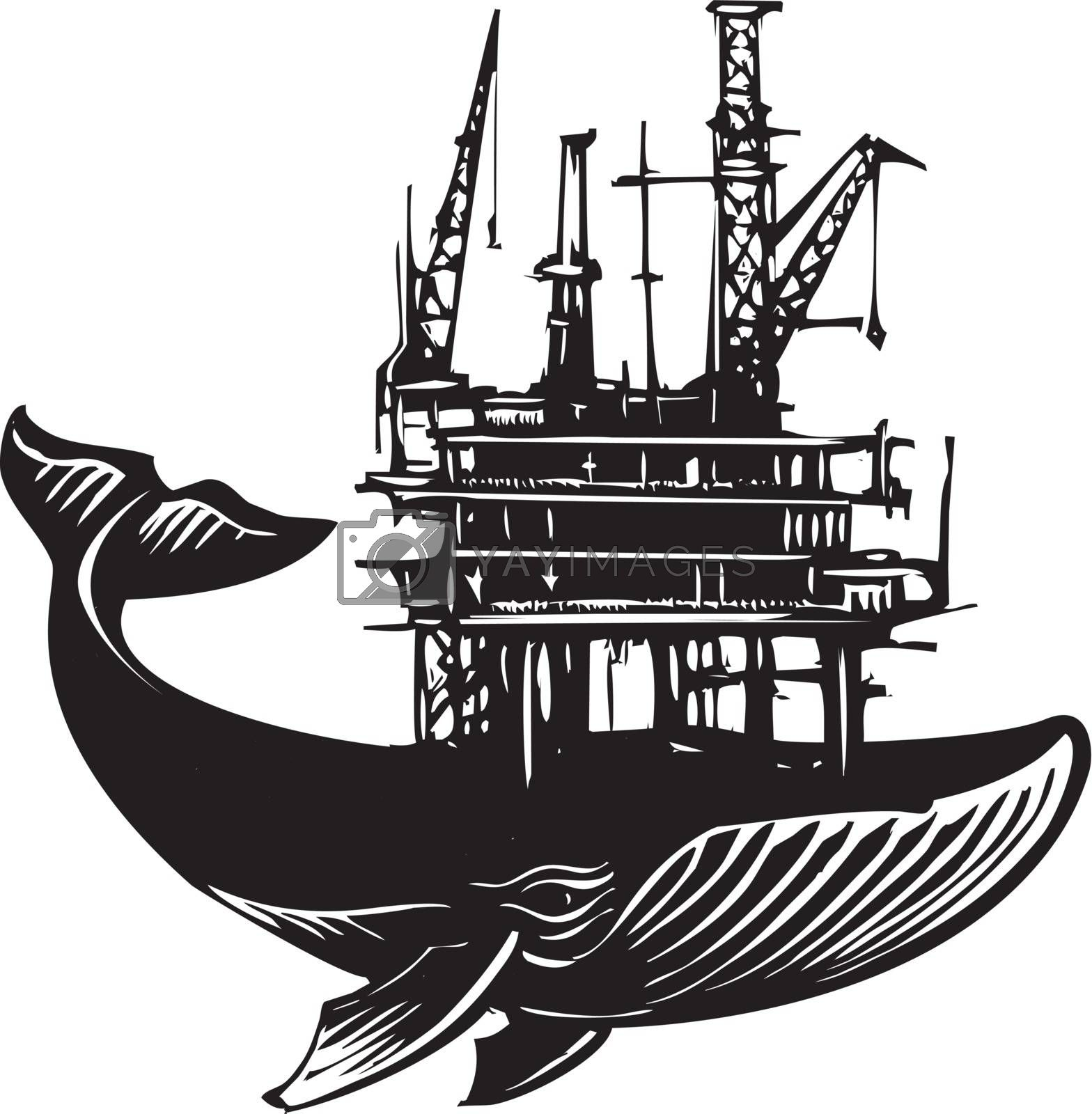Woodcut style image of a whale with an Off Shore Oil Rig on its back.