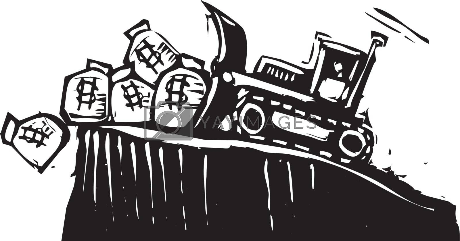 Woodcut style image of a bulldozer pushing money bags off a cliff.