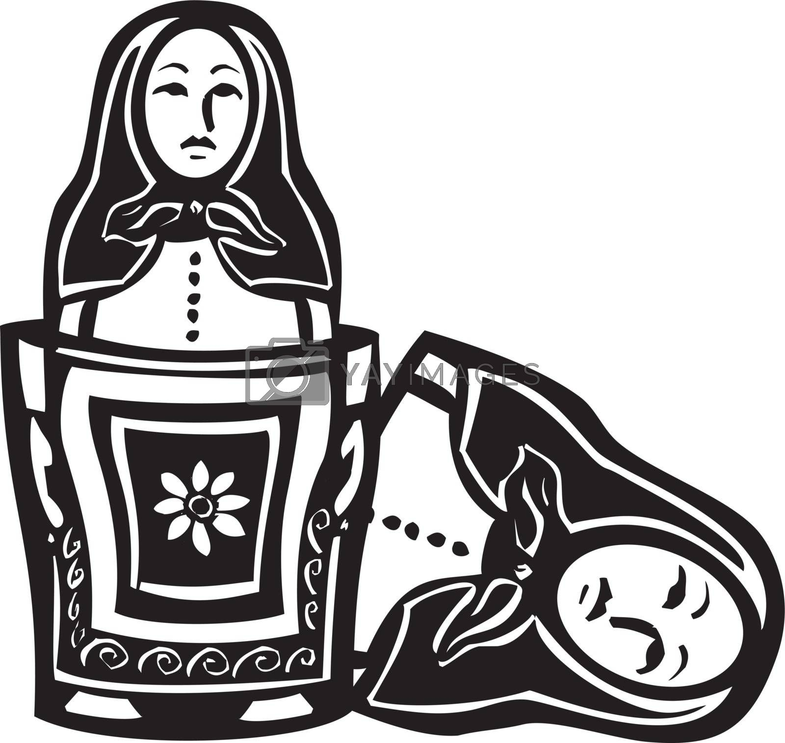 woodcut style image of a Russian nested doll with another doll inside.