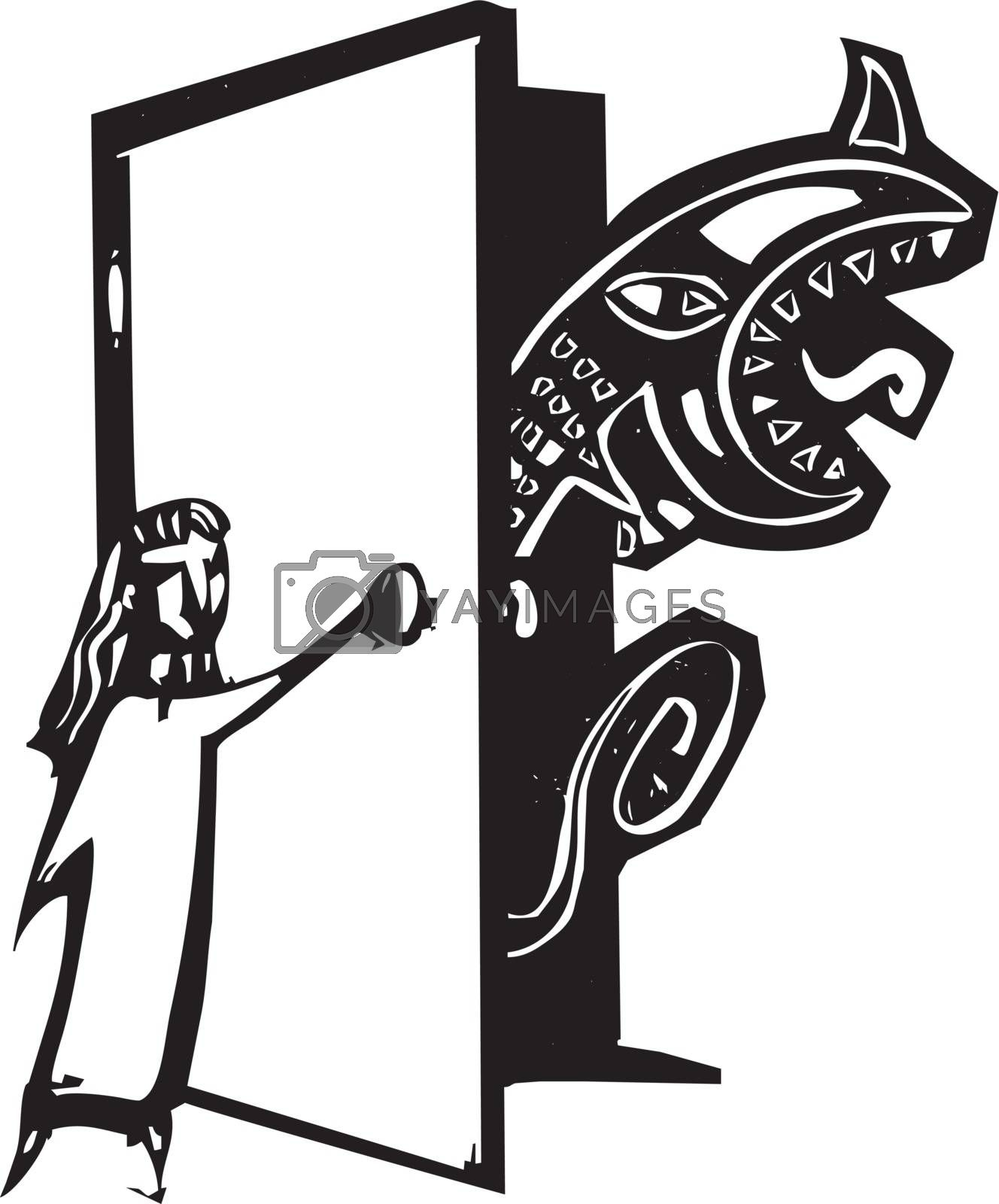 Woodcut style image of a girl opening her closet to find a monster.