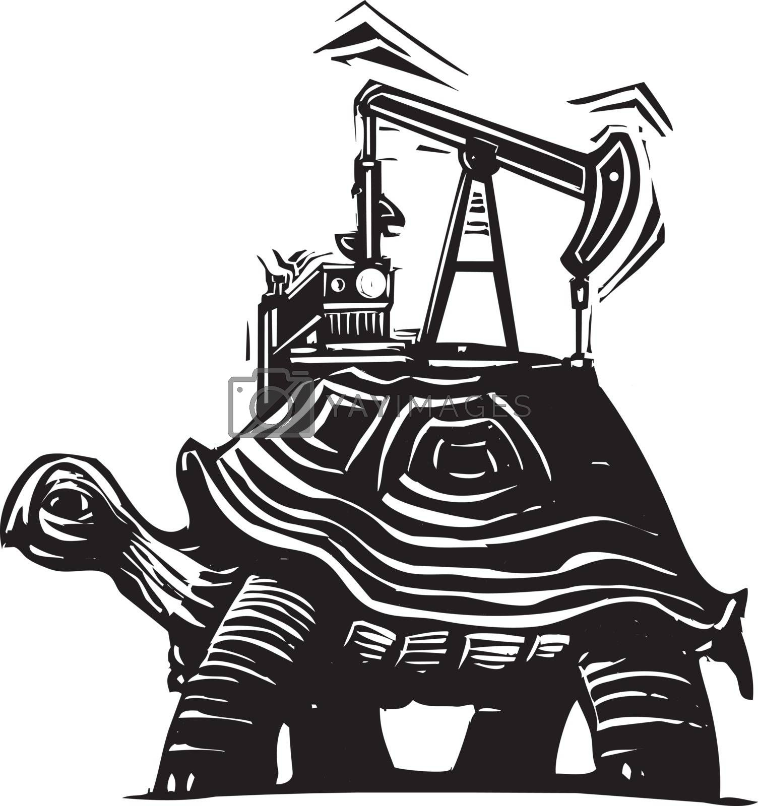 Woodcut style image of a turtle with an oil well pumping rig on his back.