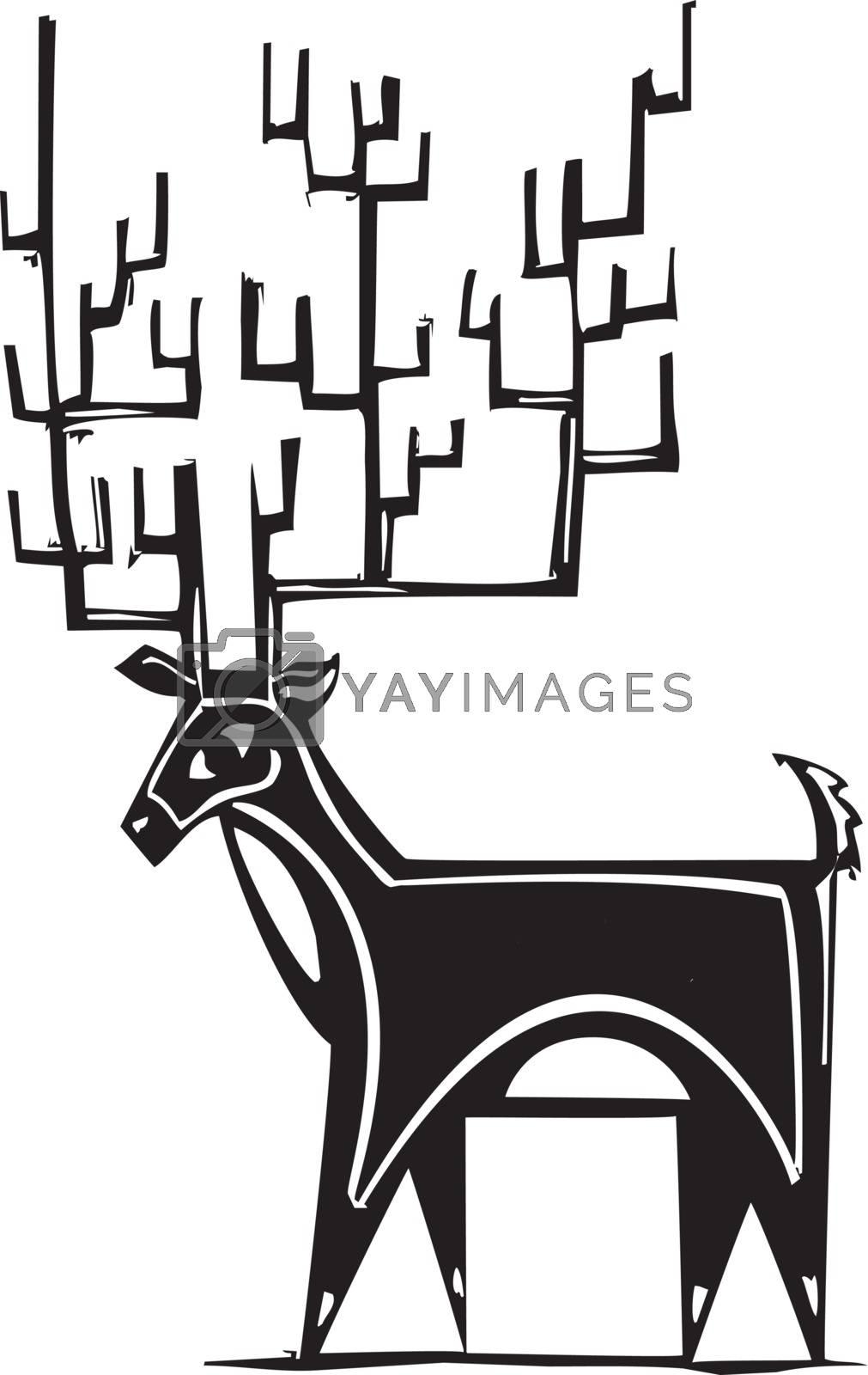 Woodcut style reindeer with a huge antler rack.