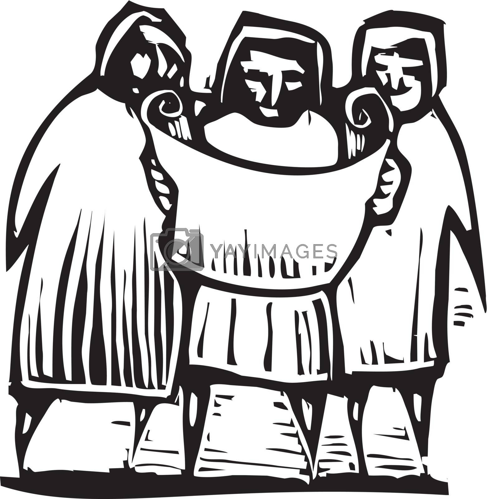 Woodcut style expressionist image of three people looking at a map or document.