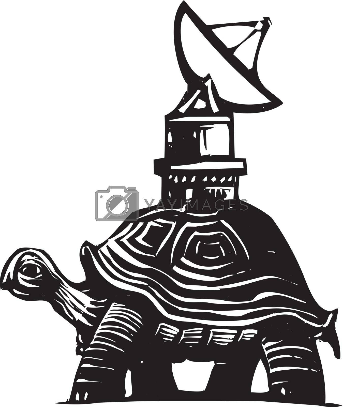 Woodcut style image of a turtle with a radio dish antenna on his back.
